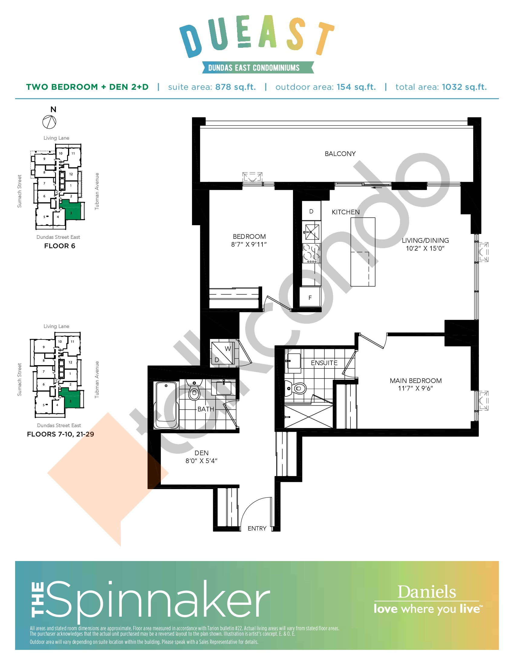 The Spinnaker (2+D) Floor Plan at DuEast Condos - 878 sq.ft