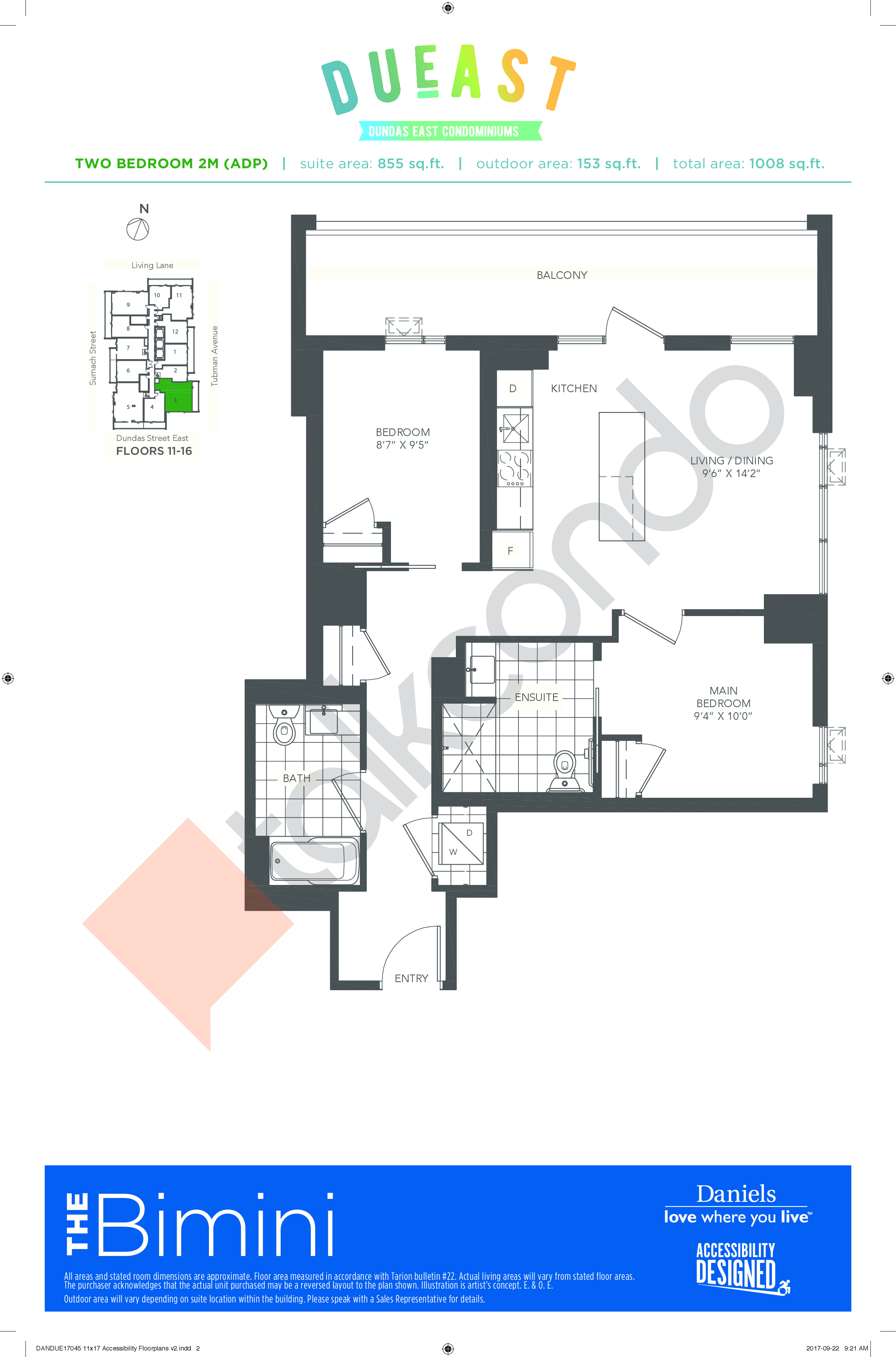 The Bimini 2M (ADP) Floor Plan at DuEast Condos - 855 sq.ft