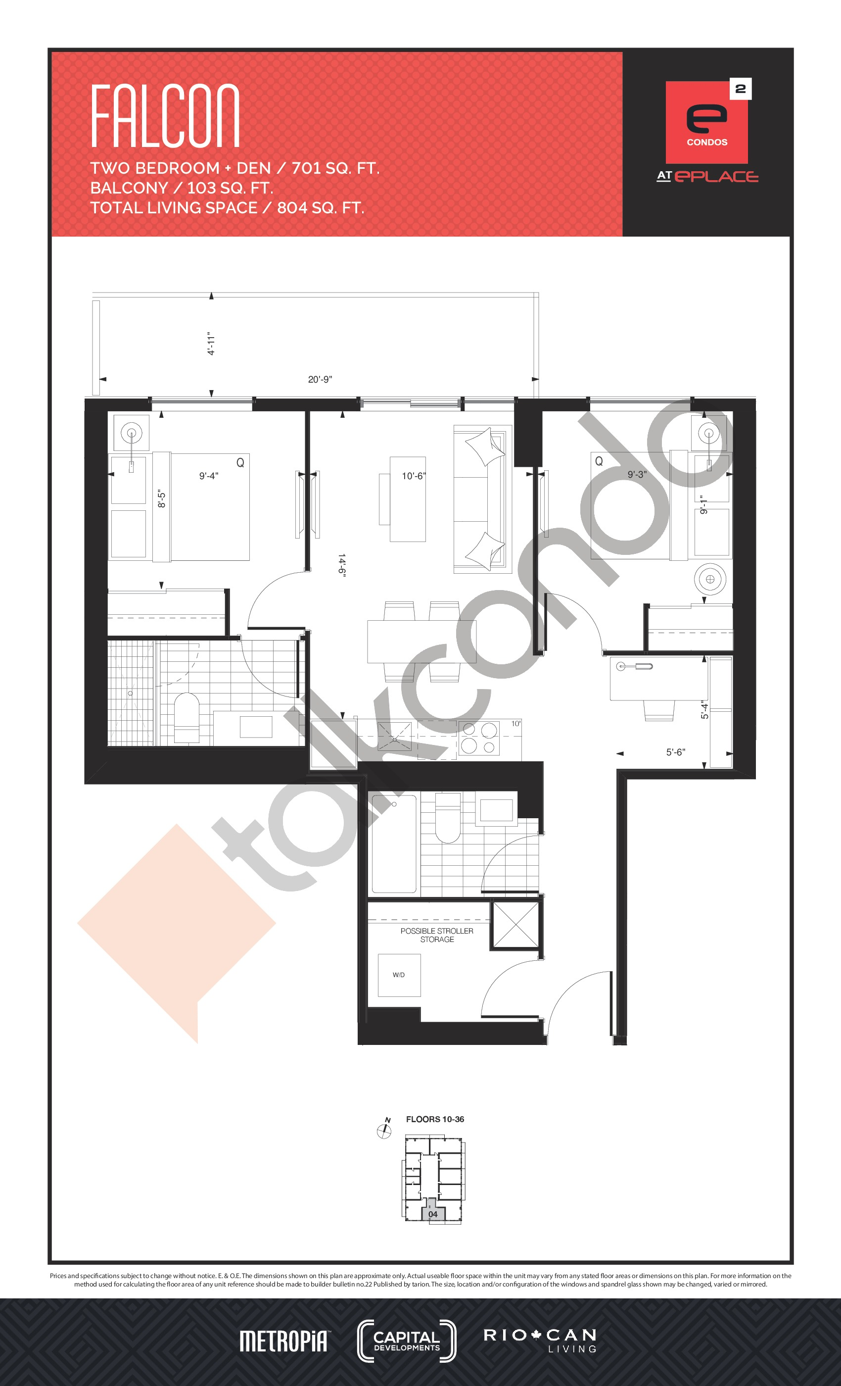 Falcon Floor Plan at E2 Condos - 701 sq.ft