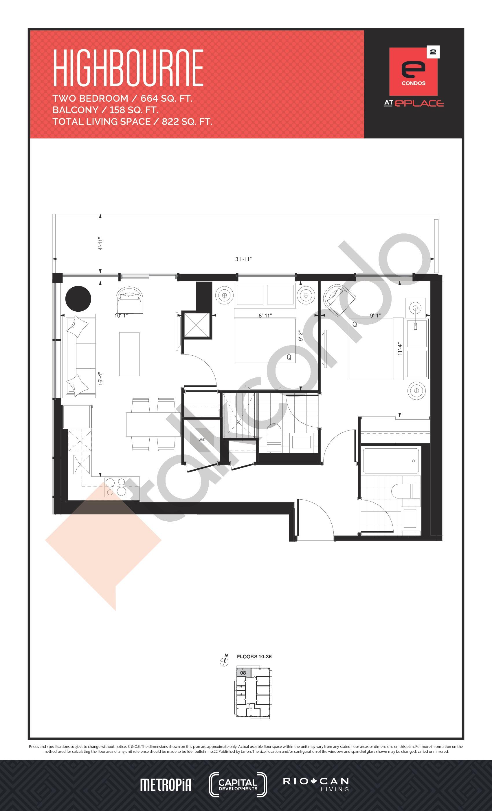 Highbourne Floor Plan at E2 Condos - 664 sq.ft