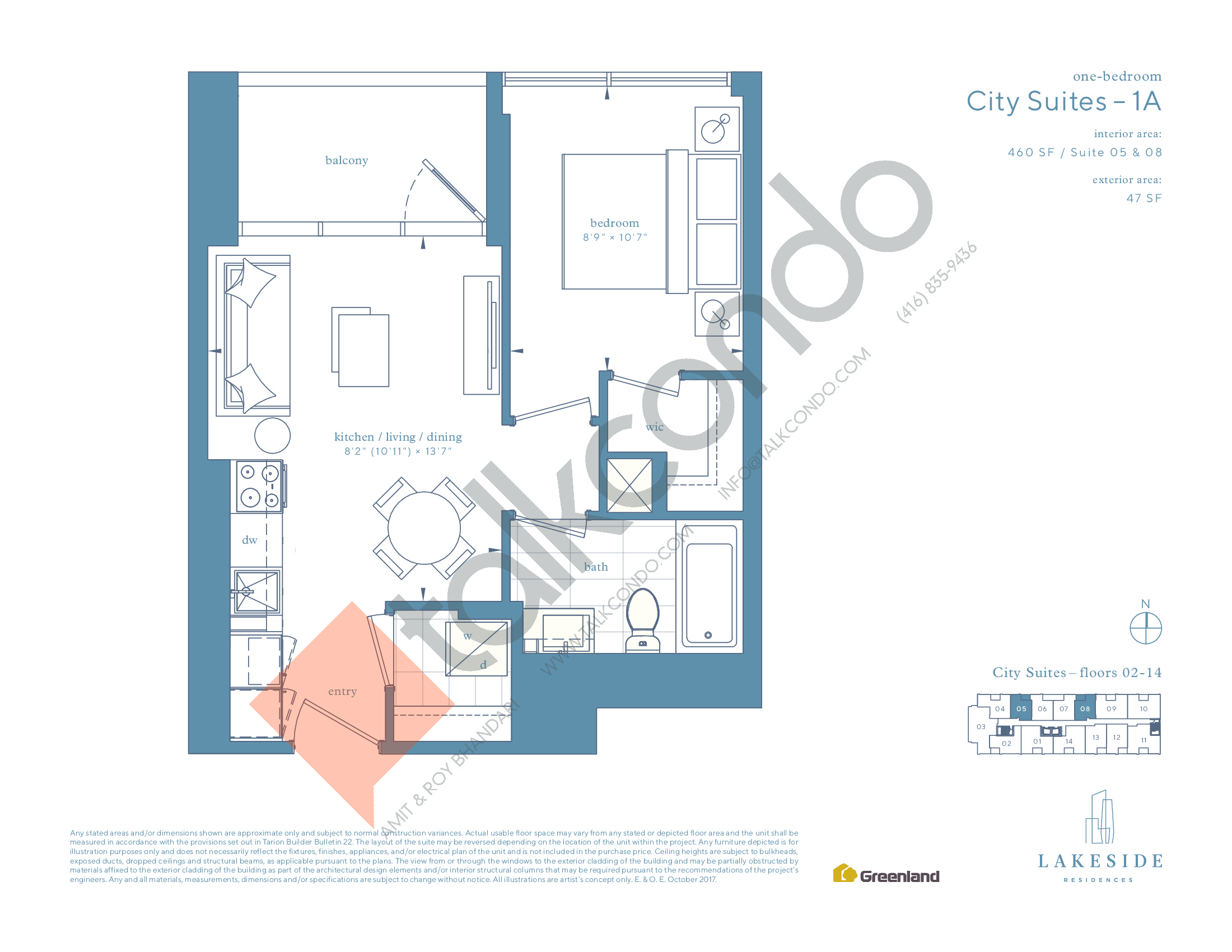 City Suites - 1A Floor Plan at Lakeside Residences - 460 sq.ft