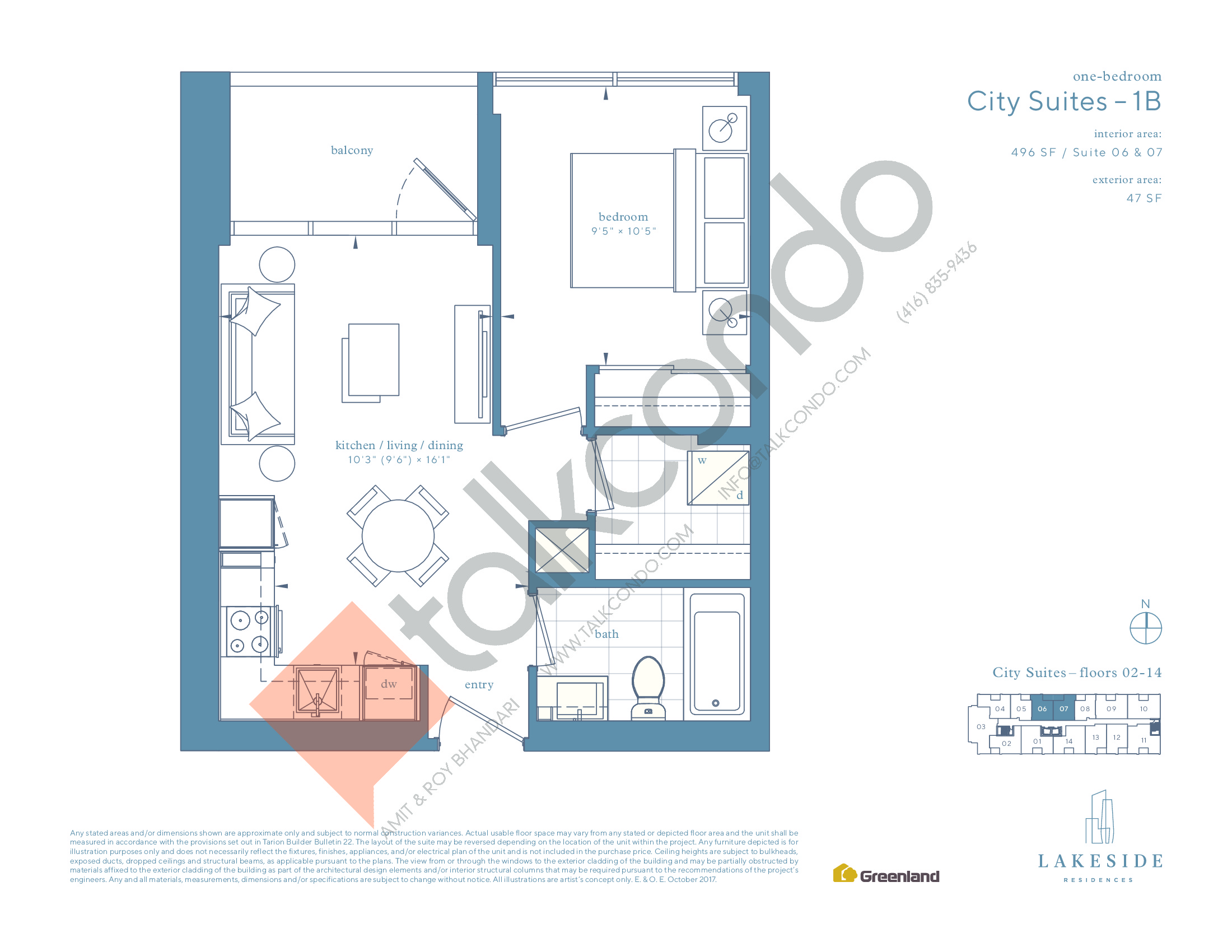 City Suites - 1B Floor Plan at Lakeside Residences - 496 sq.ft