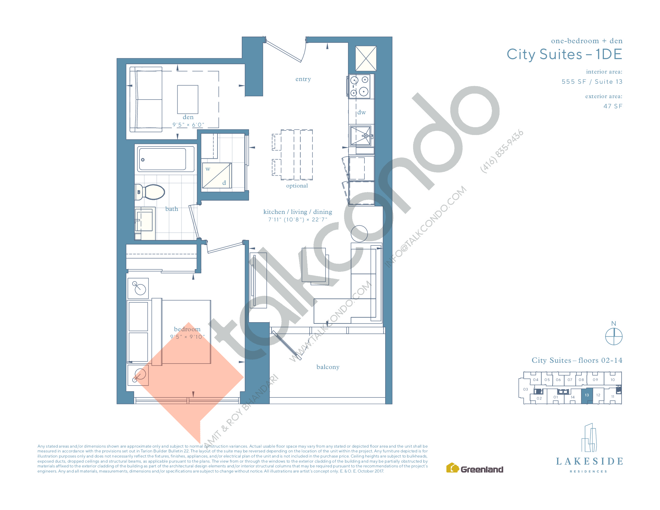 City Suites - 1DE Floor Plan at Lakeside Residences - 555 sq.ft