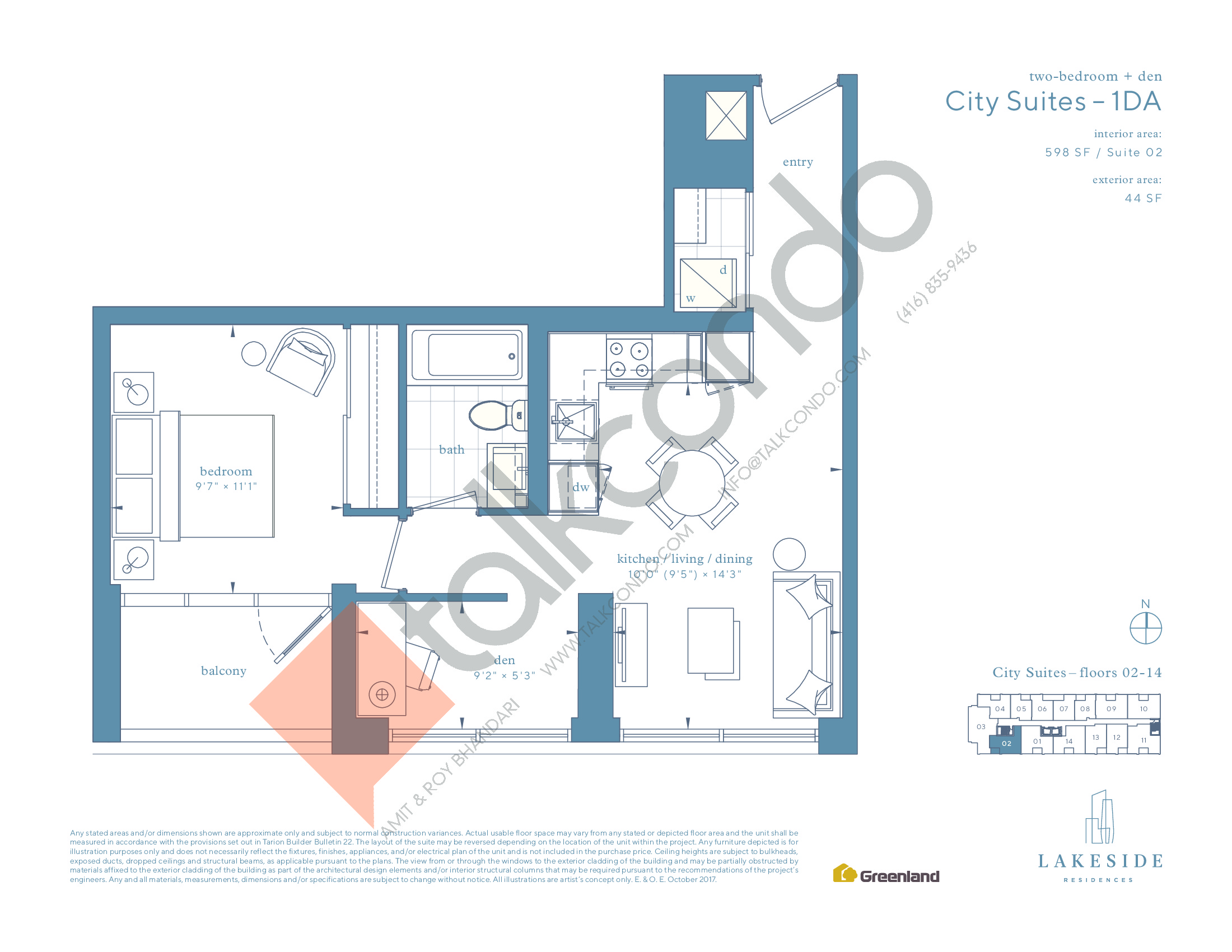 City Suites - 1DA Floor Plan at Lakeside Residences - 598 sq.ft