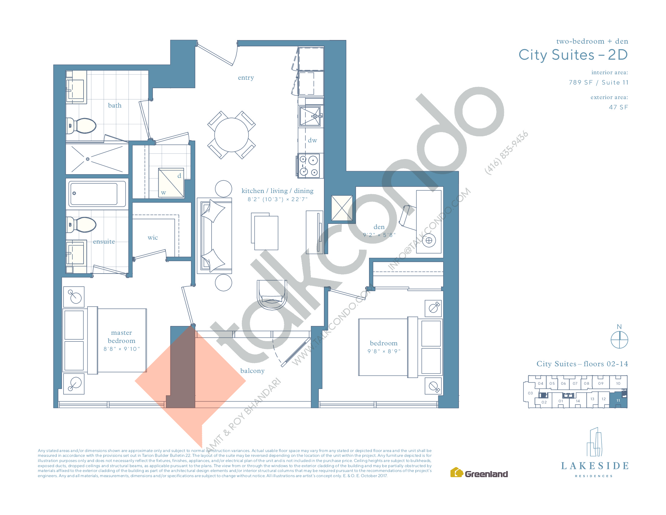 City Suites - 2D Floor Plan at Lakeside Residences - 789 sq.ft