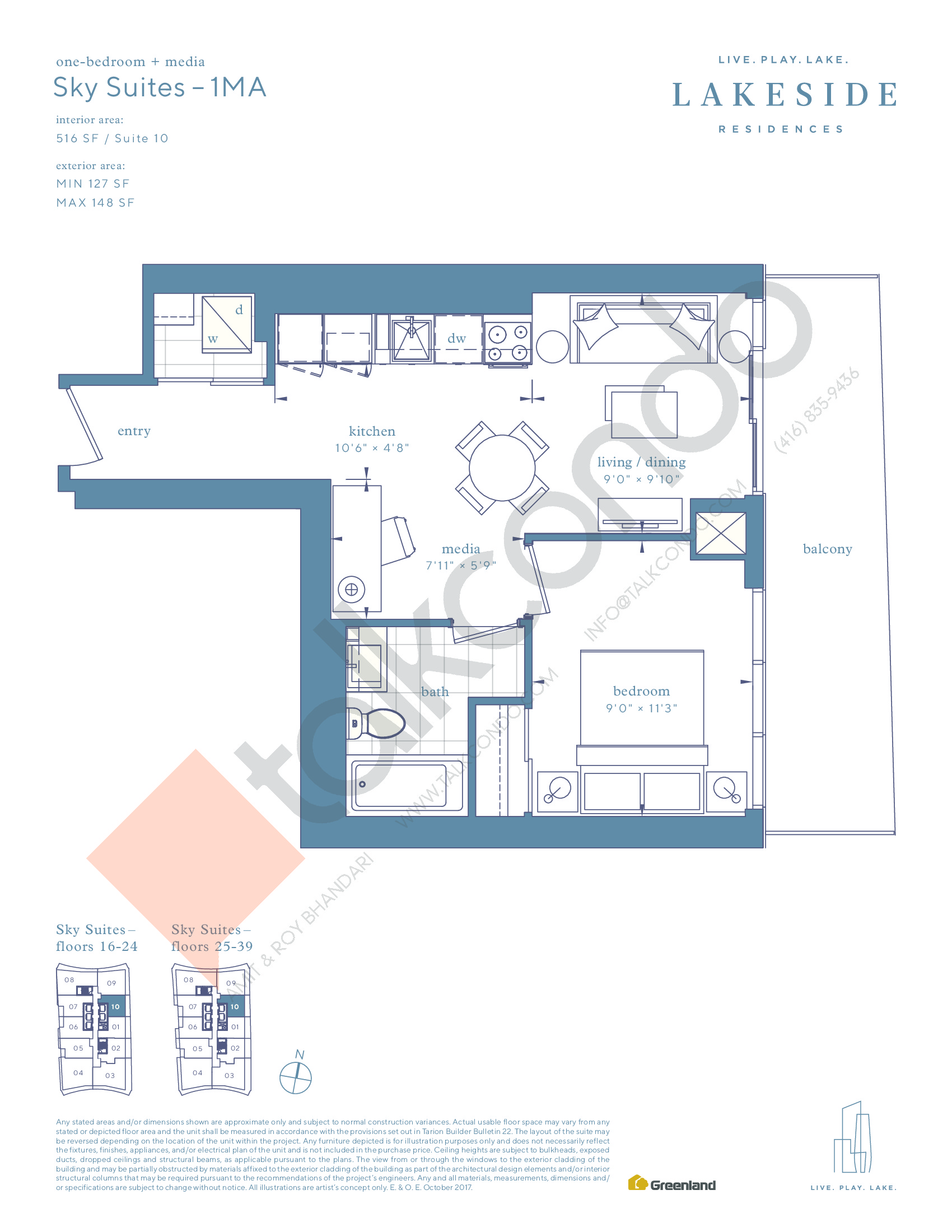 Sky Suites - 1MA Floor Plan at Lakeside Residences - 516 sq.ft
