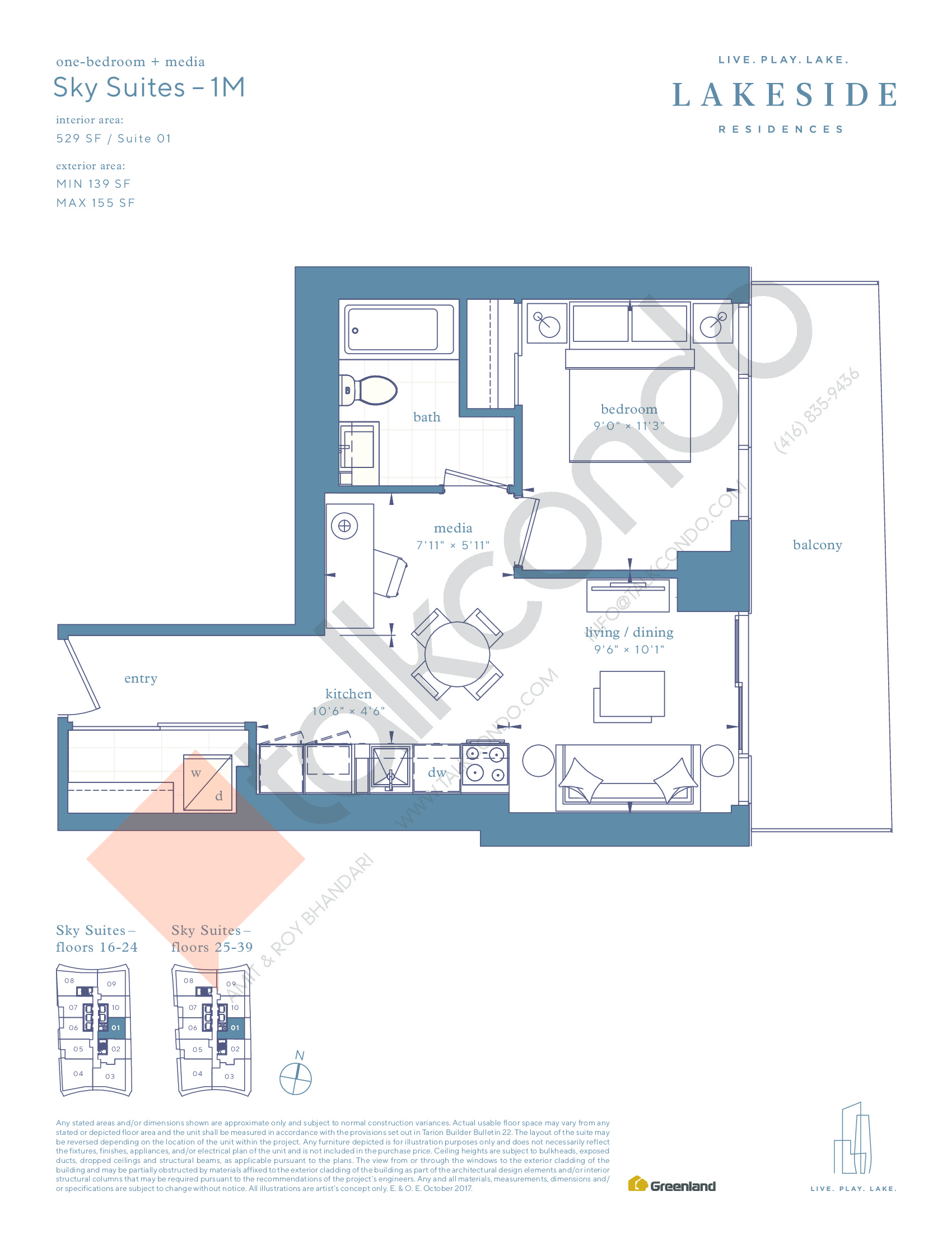 Sky Suites - 1M Floor Plan at Lakeside Residences - 529 sq.ft