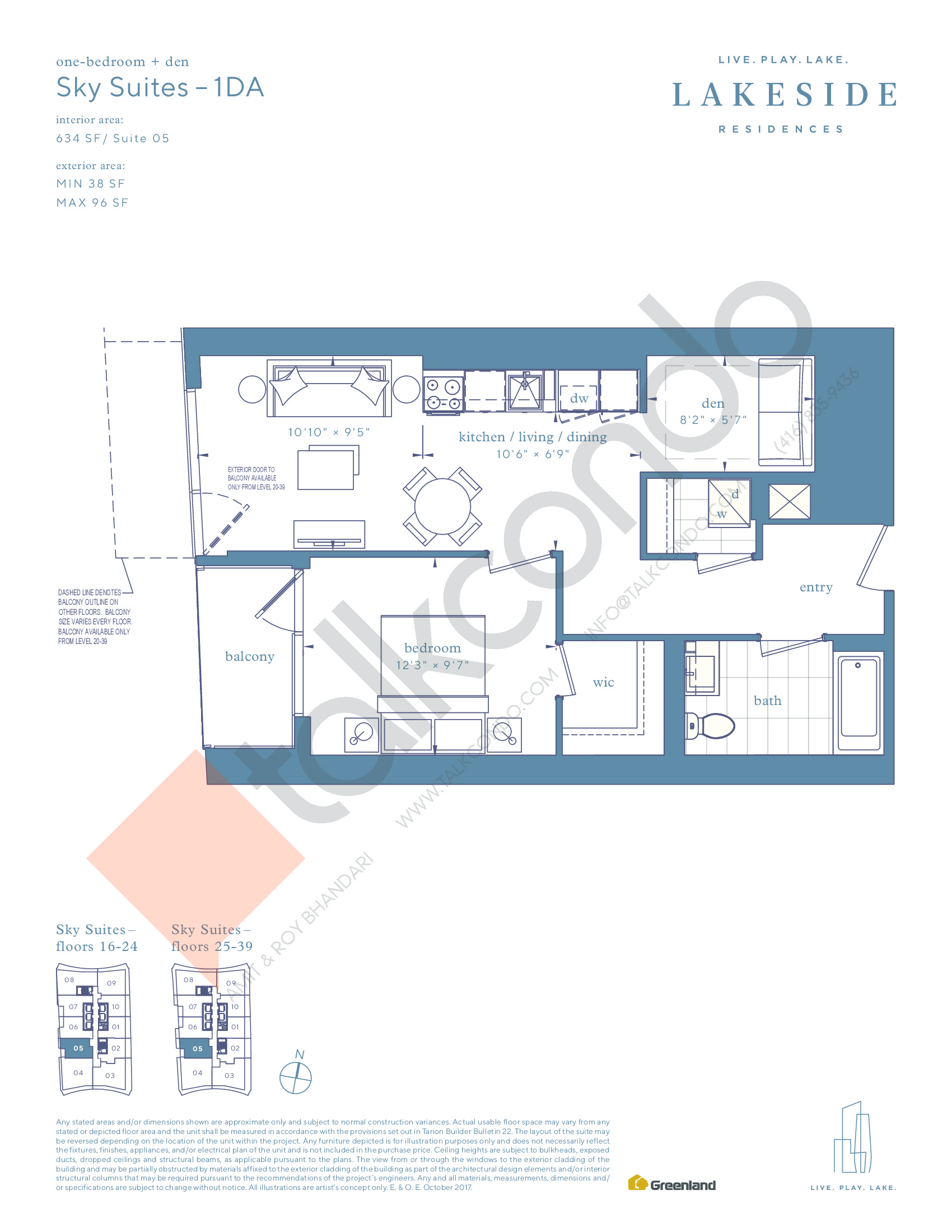 Sky Suites - 1DA Floor Plan at Lakeside Residences - 634 sq.ft