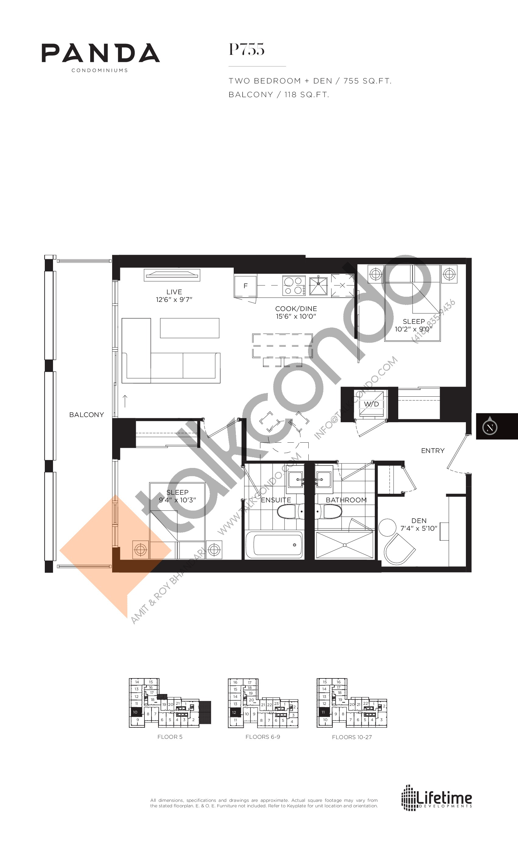 P755 Floor Plan at Panda Condos - 755 sq.ft
