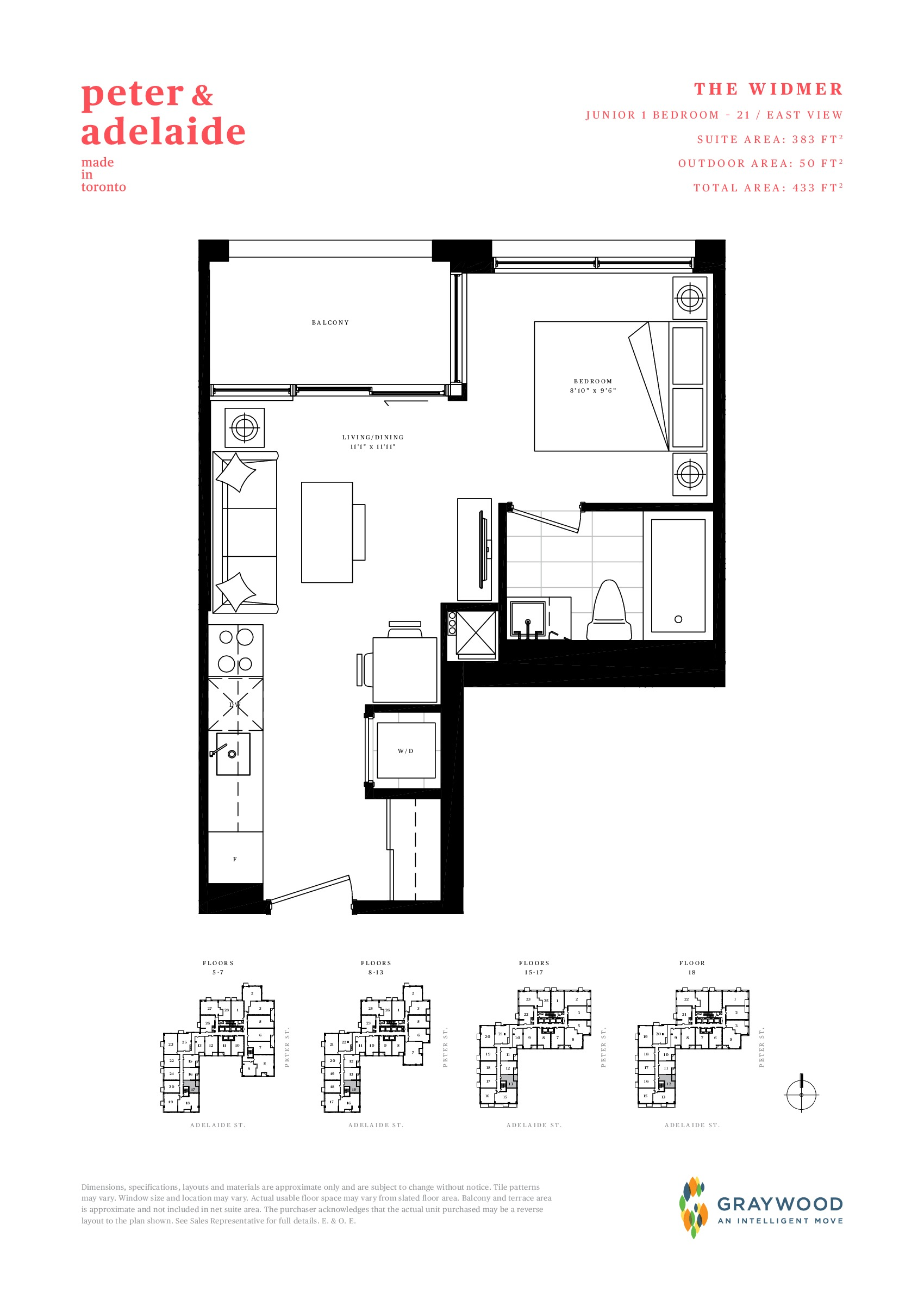 The Widmer Floor Plan at Peter & Adelaide Condos - 383 sq.ft