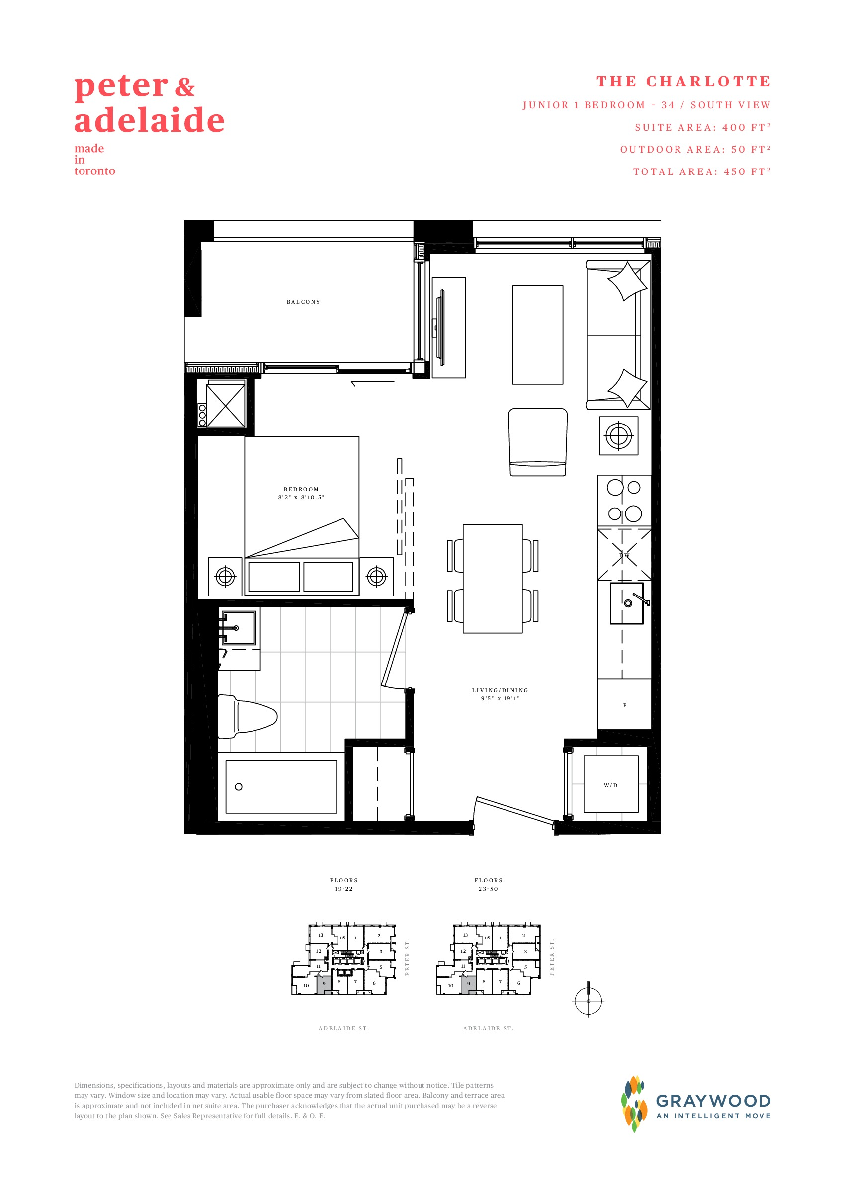 The Charlotte Floor Plan at Peter & Adelaide Condos - 400 sq.ft