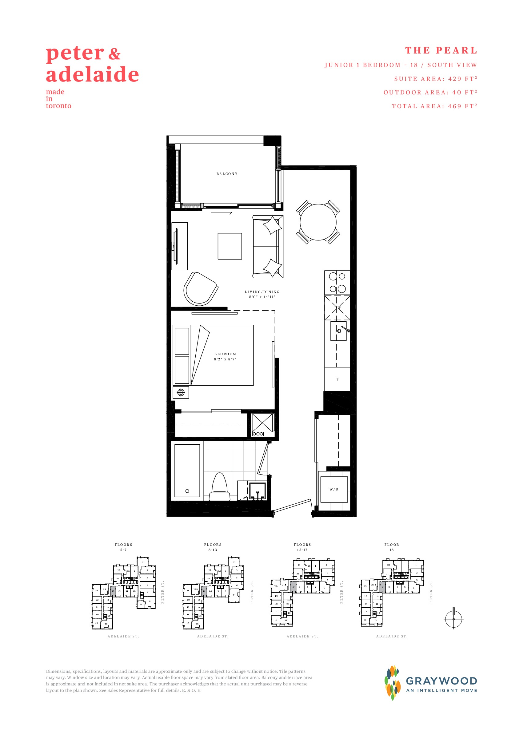 The Pearl Floor Plan at Peter & Adelaide Condos - 429 sq.ft
