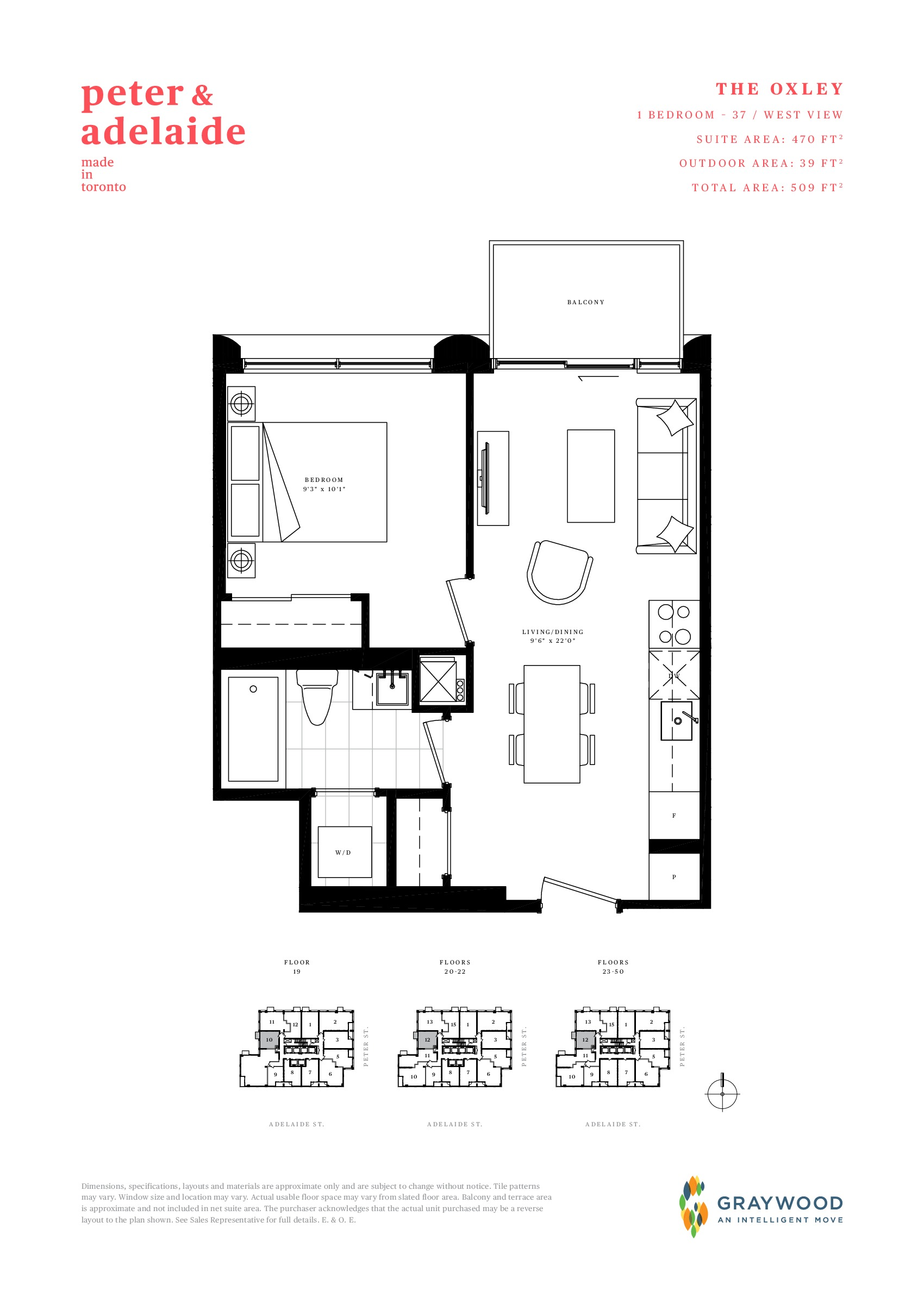 The Oxley Floor Plan at Peter & Adelaide Condos - 470 sq.ft