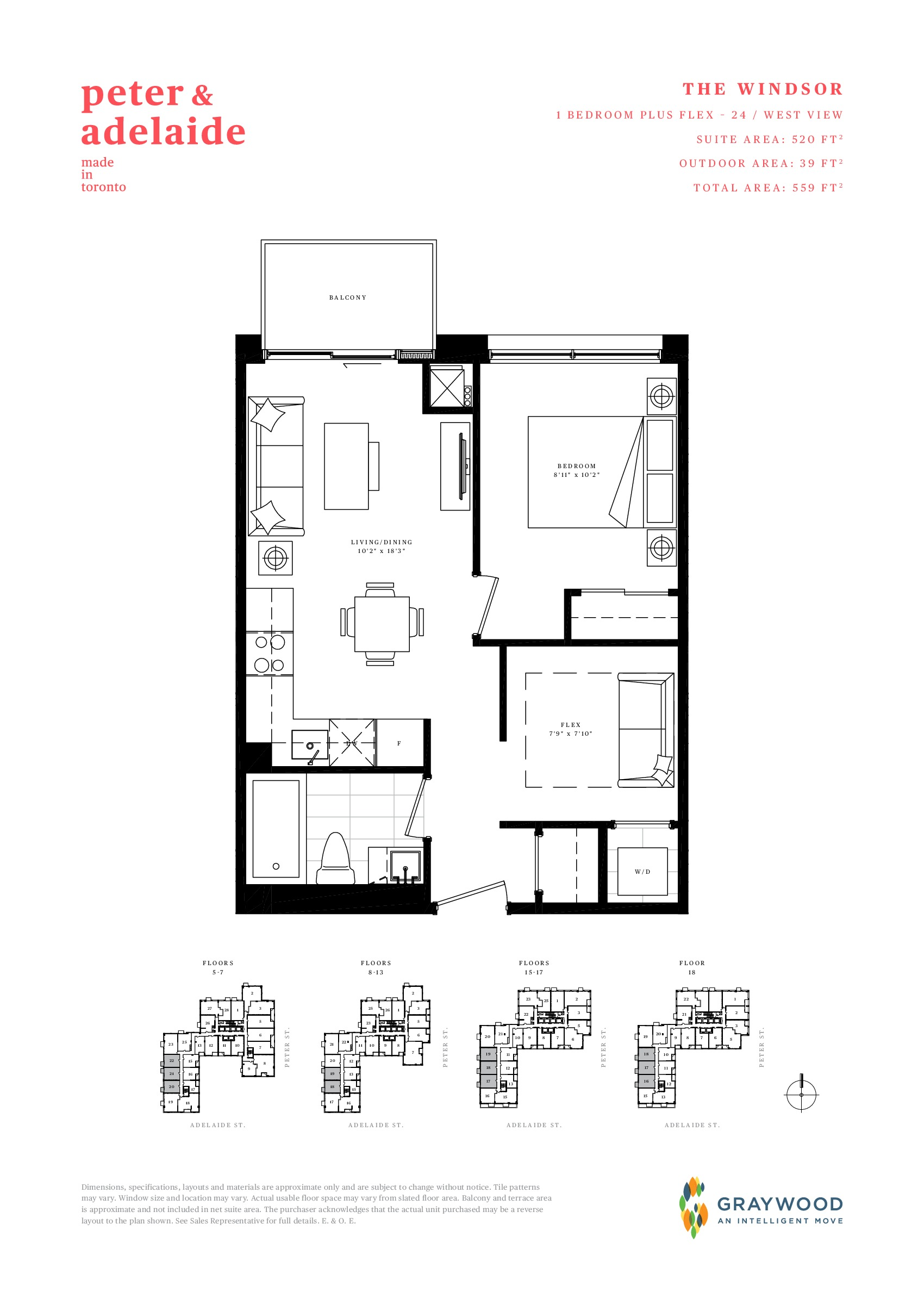The Windsor Floor Plan at Peter & Adelaide Condos - 520 sq.ft