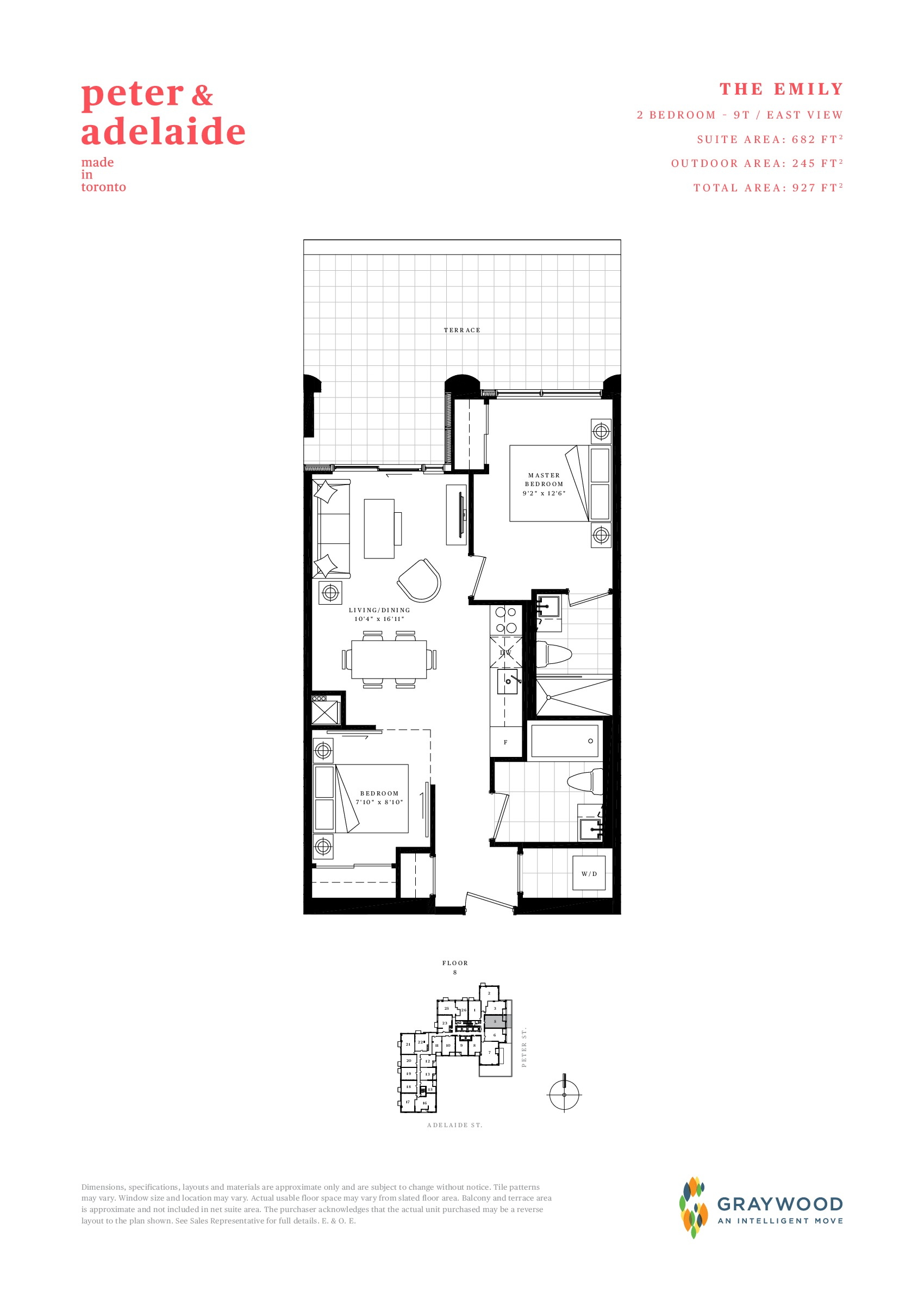 The Emily Floor Plan at Peter & Adelaide Condos - 682 sq.ft