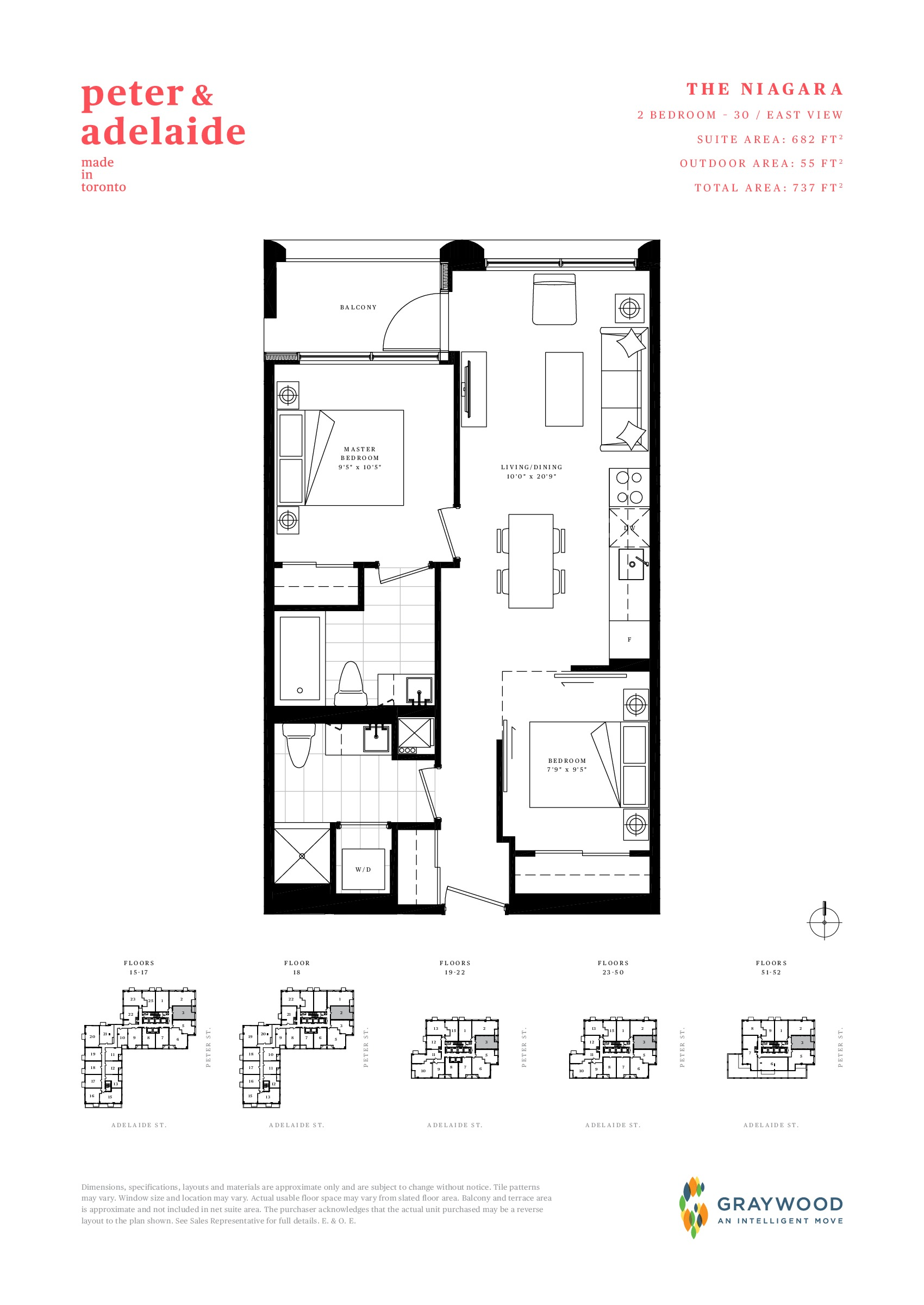 The Niagara Floor Plan at Peter & Adelaide Condos - 682 sq.ft