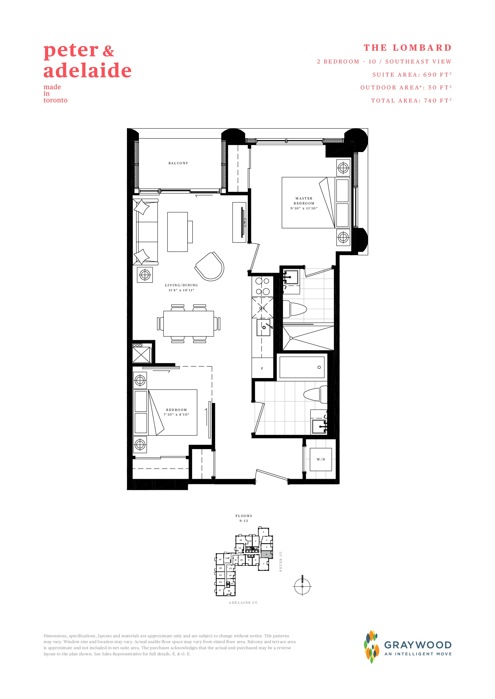 The Lombard Floor Plan at Peter & Adelaide Condos - 690 sq.ft