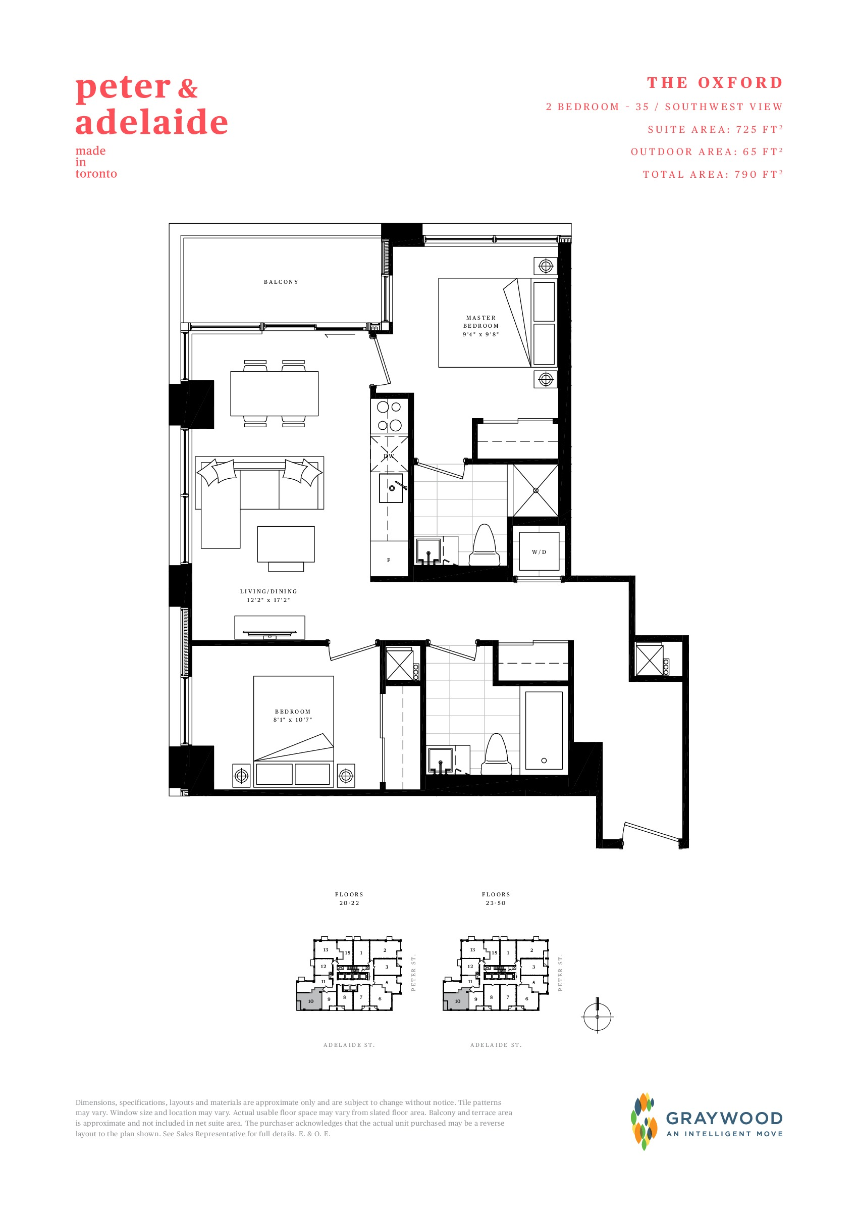 The Oxford Floor Plan at Peter & Adelaide Condos - 725 sq.ft