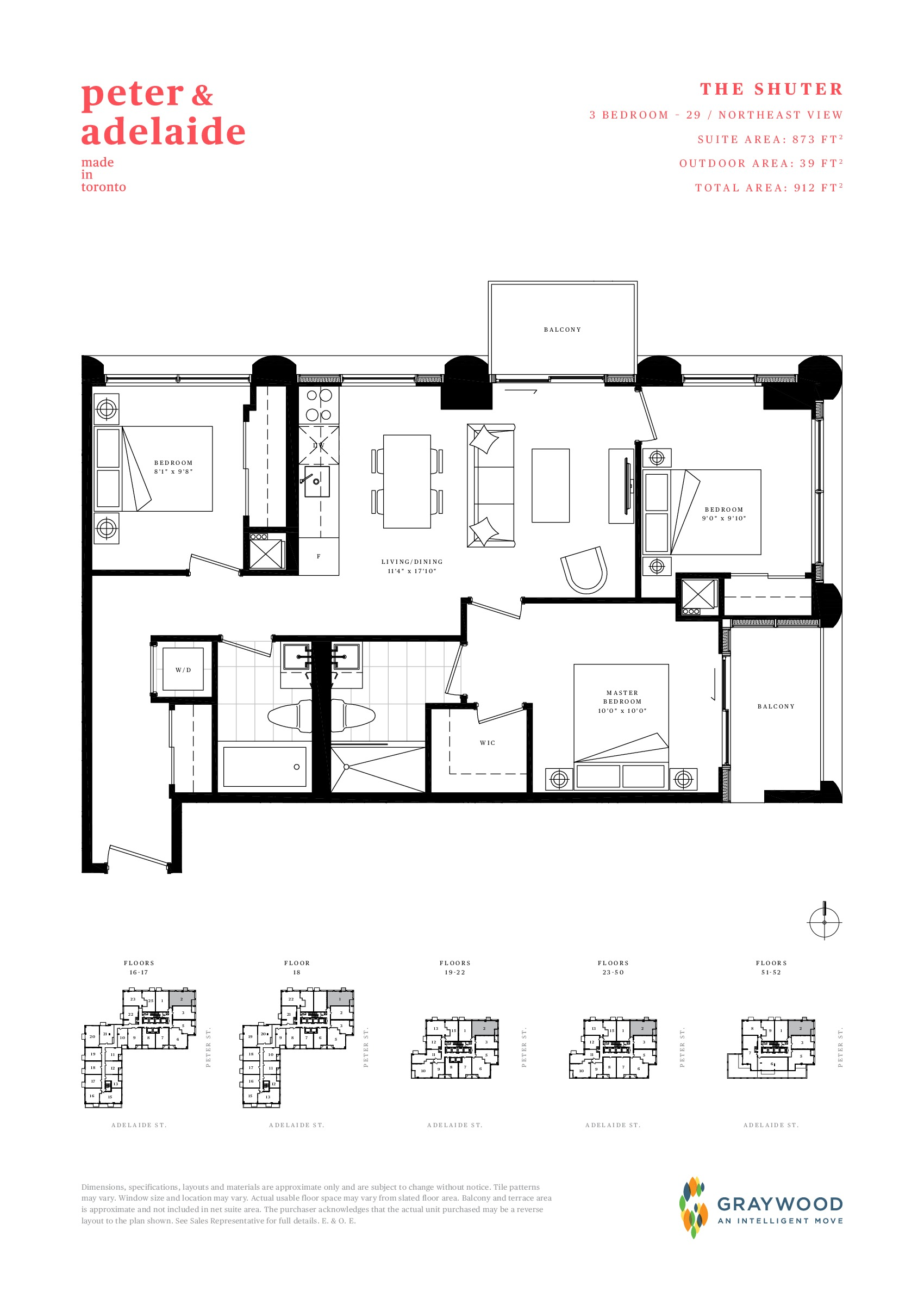 The Shuter Floor Plan at Peter & Adelaide Condos - 873 sq.ft