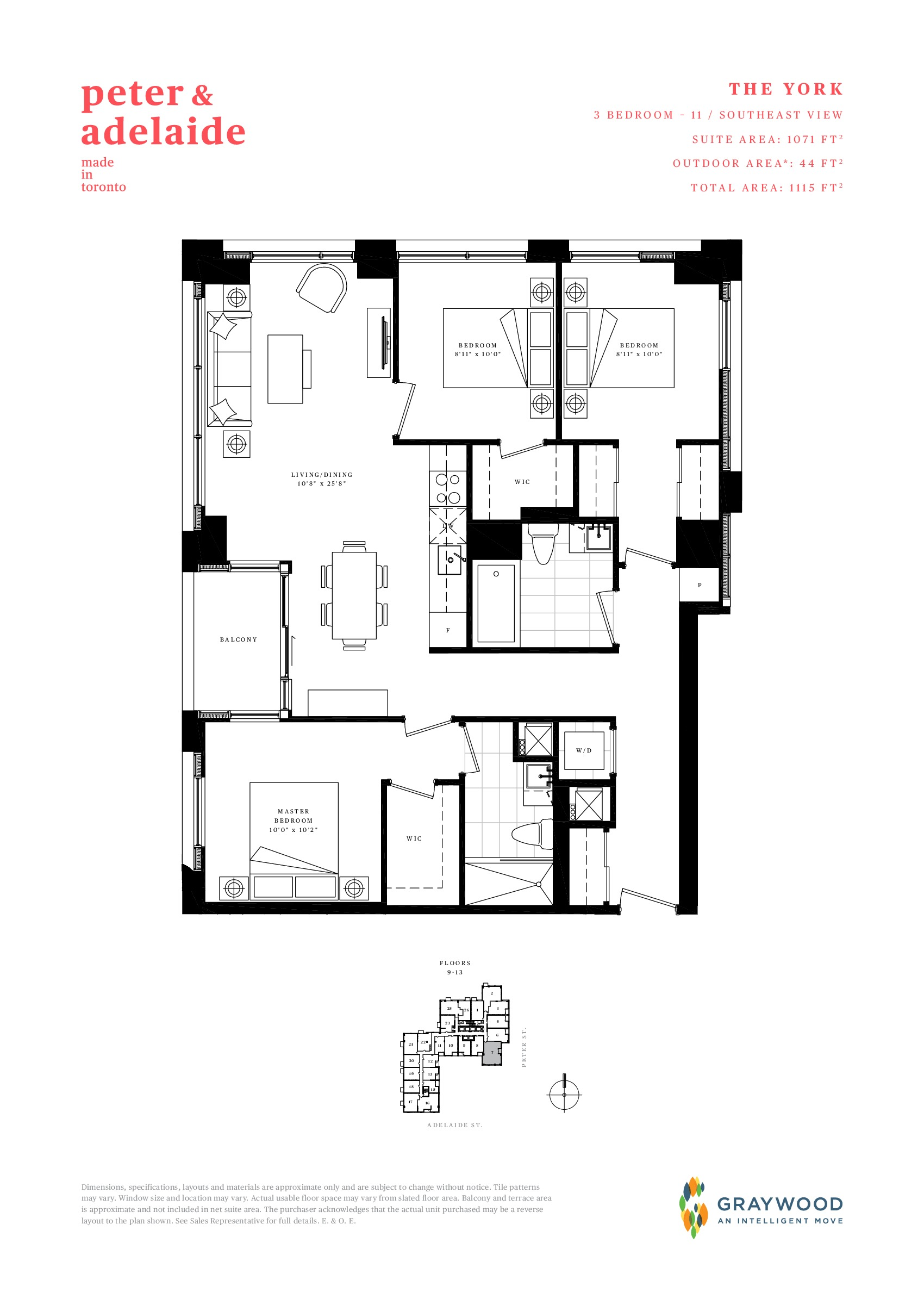 The York Floor Plan at Peter & Adelaide Condos - 1071 sq.ft