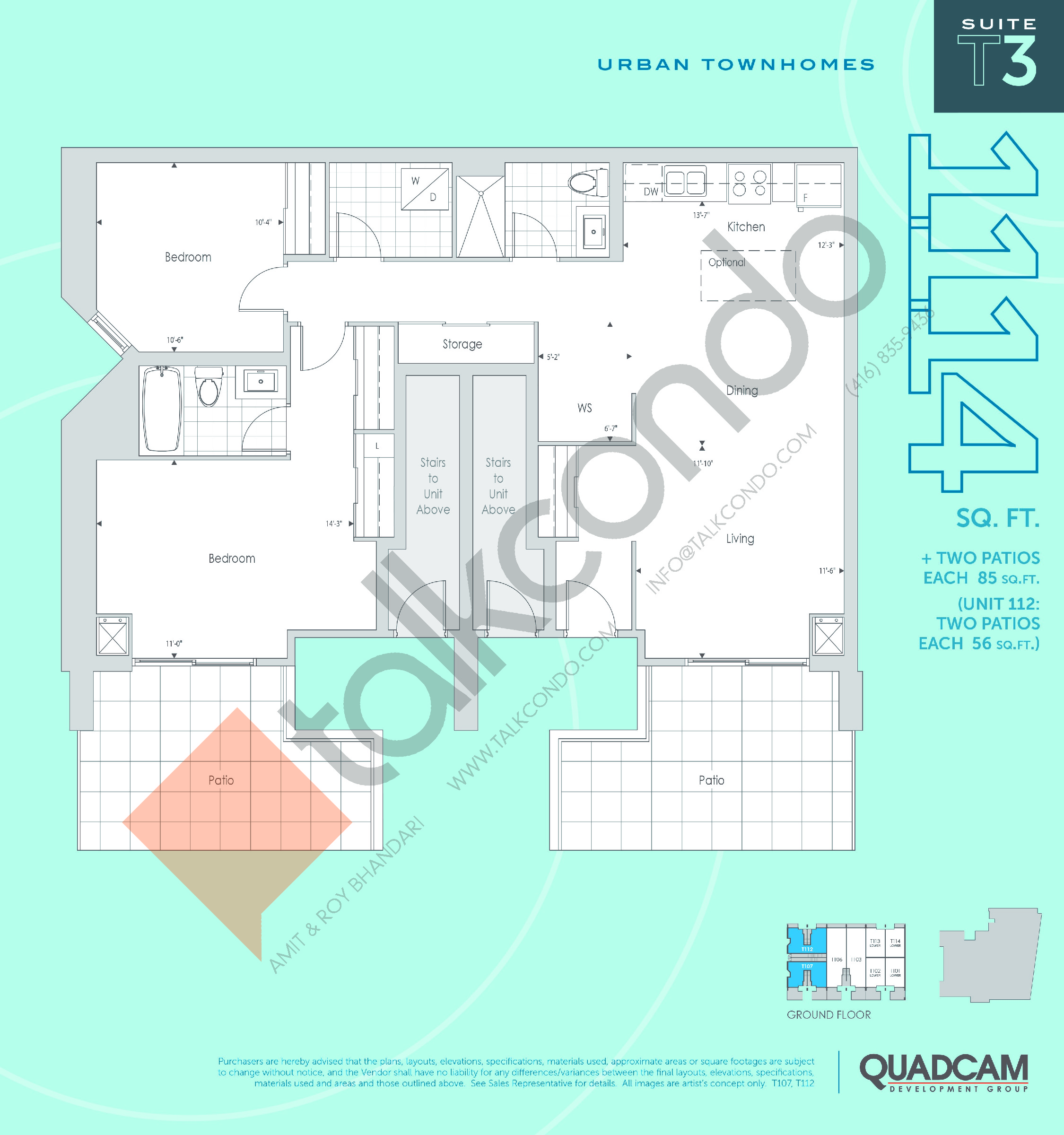 T3 Floor Plan at The 2800 Condos - 1114 sq.ft