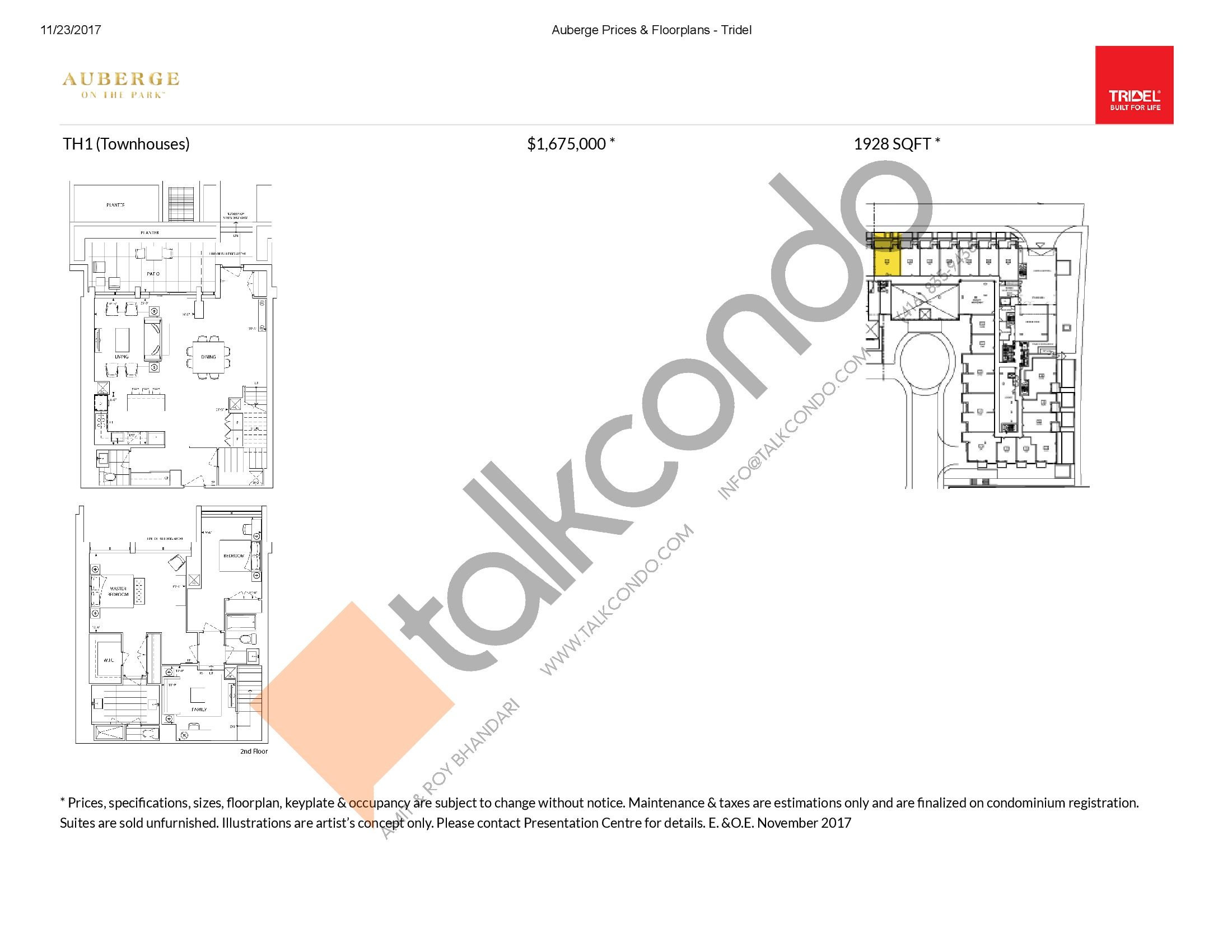 TH1 Floor Plan at Auberge On The Park Condos - 1928 sq.ft