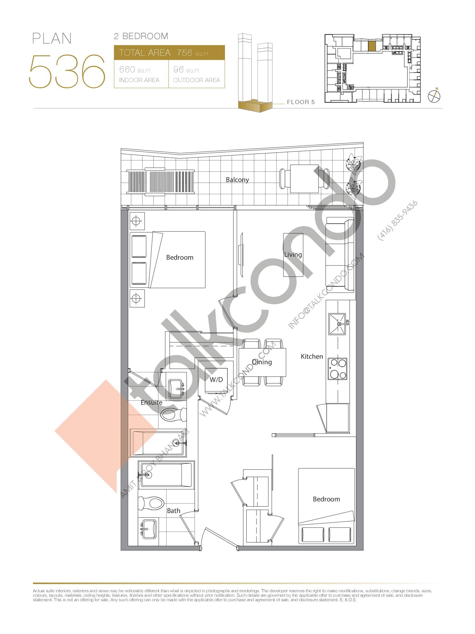 Plan 536 Floor Plan at Concord Canada House Condos - 660 sq.ft