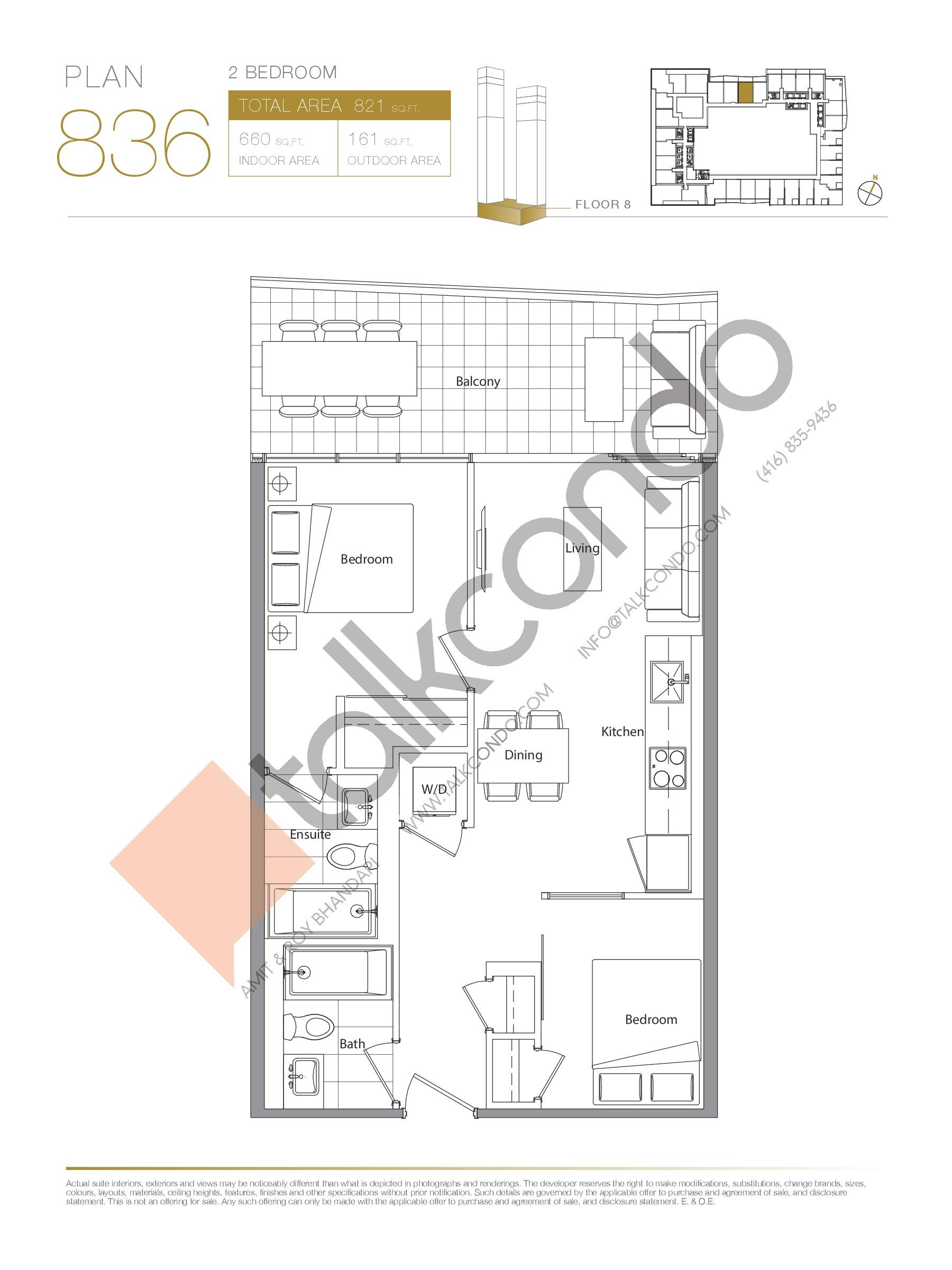 Plan 836 Floor Plan at Concord Canada House Condos - 660 sq.ft