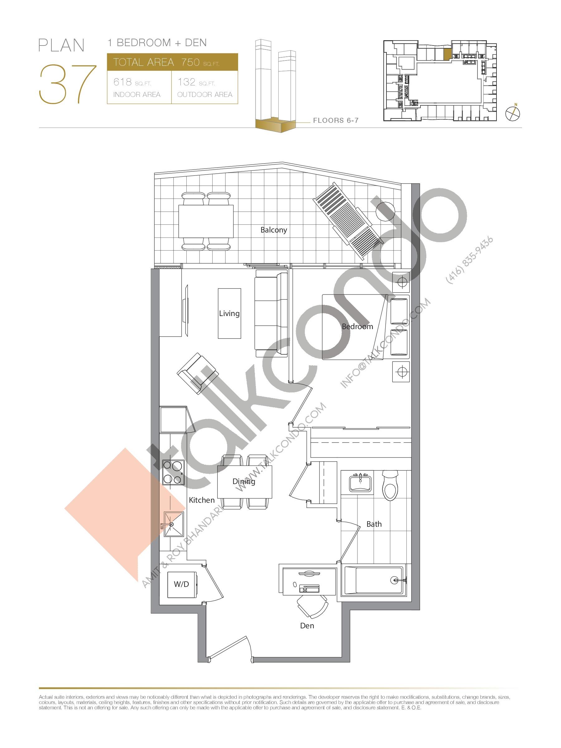 Plan 37 Floor Plan at Concord Canada House Condos - 618 sq.ft