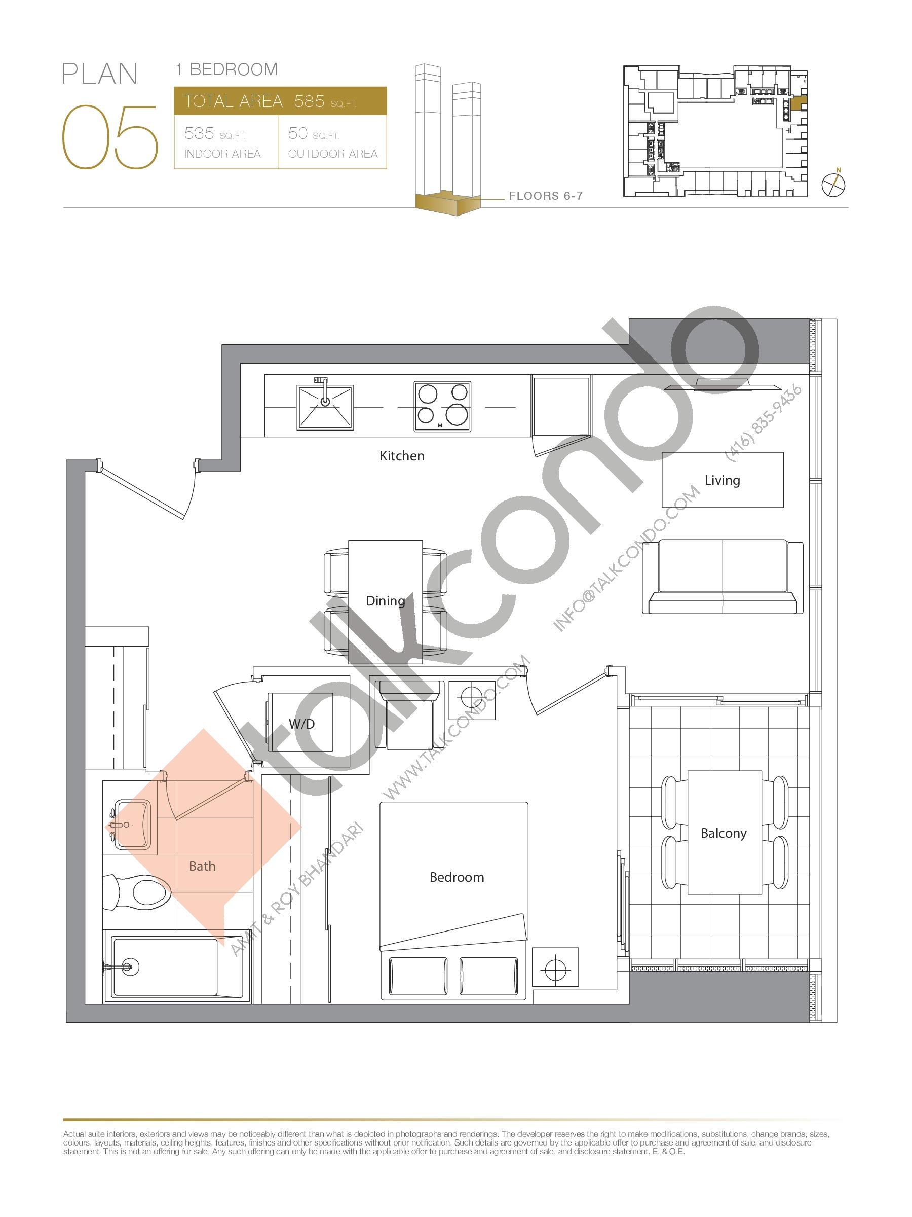 Plan 05 - Podium Floor Plan at Concord Canada House Condos - 535 sq.ft