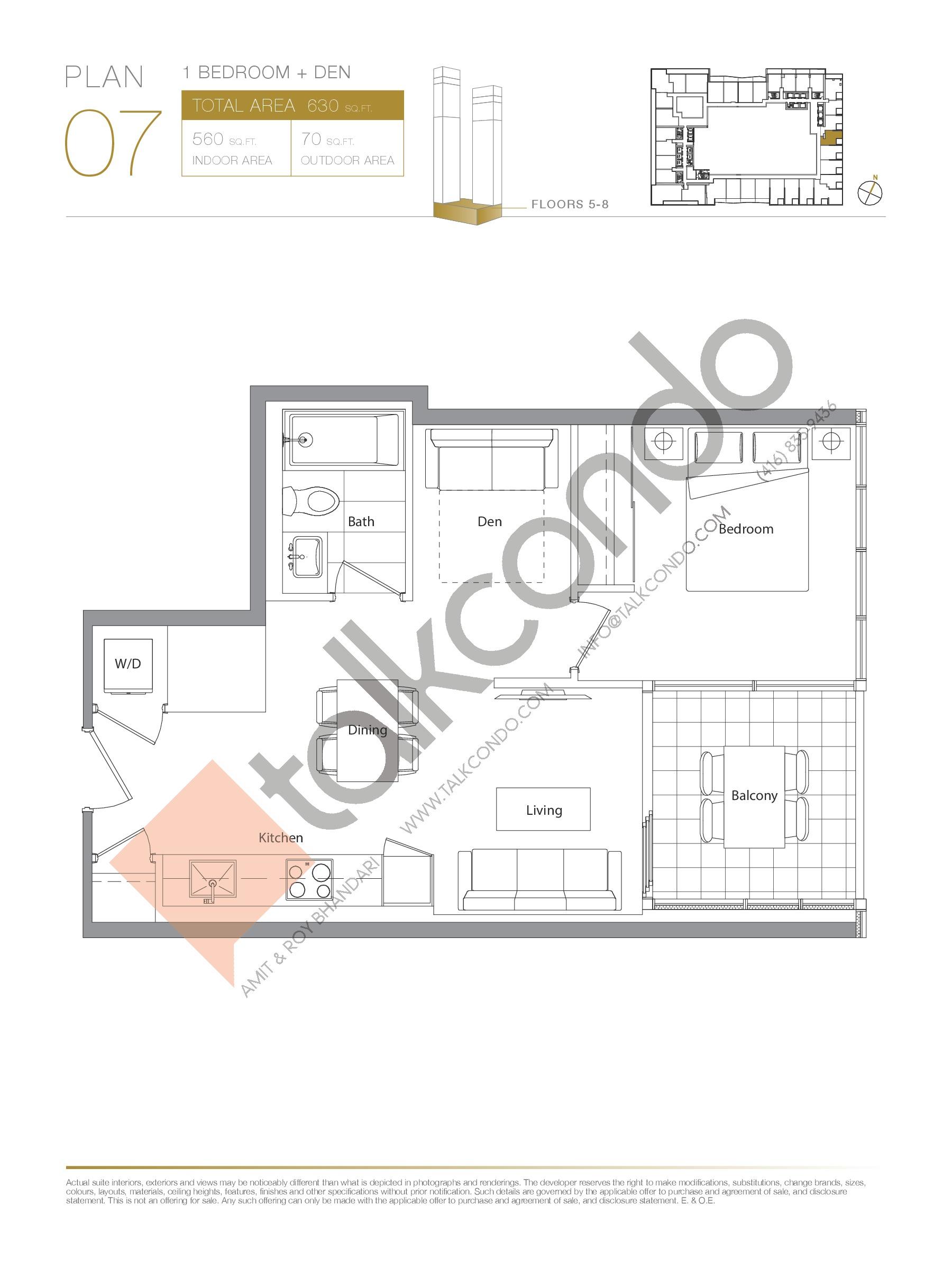 Plan 07 - Podium Floor Plan at Concord Canada House Condos - 560 sq.ft
