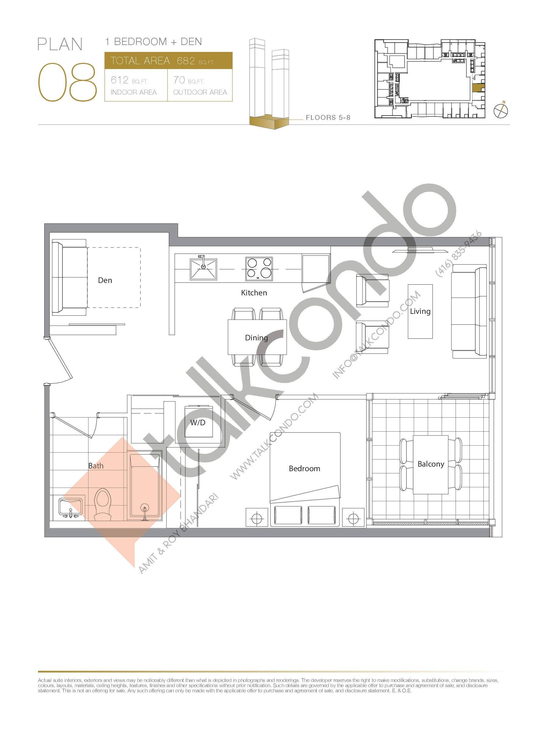 Plan 08 - Podium Floor Plan at Concord Canada House Condos - 612 sq.ft