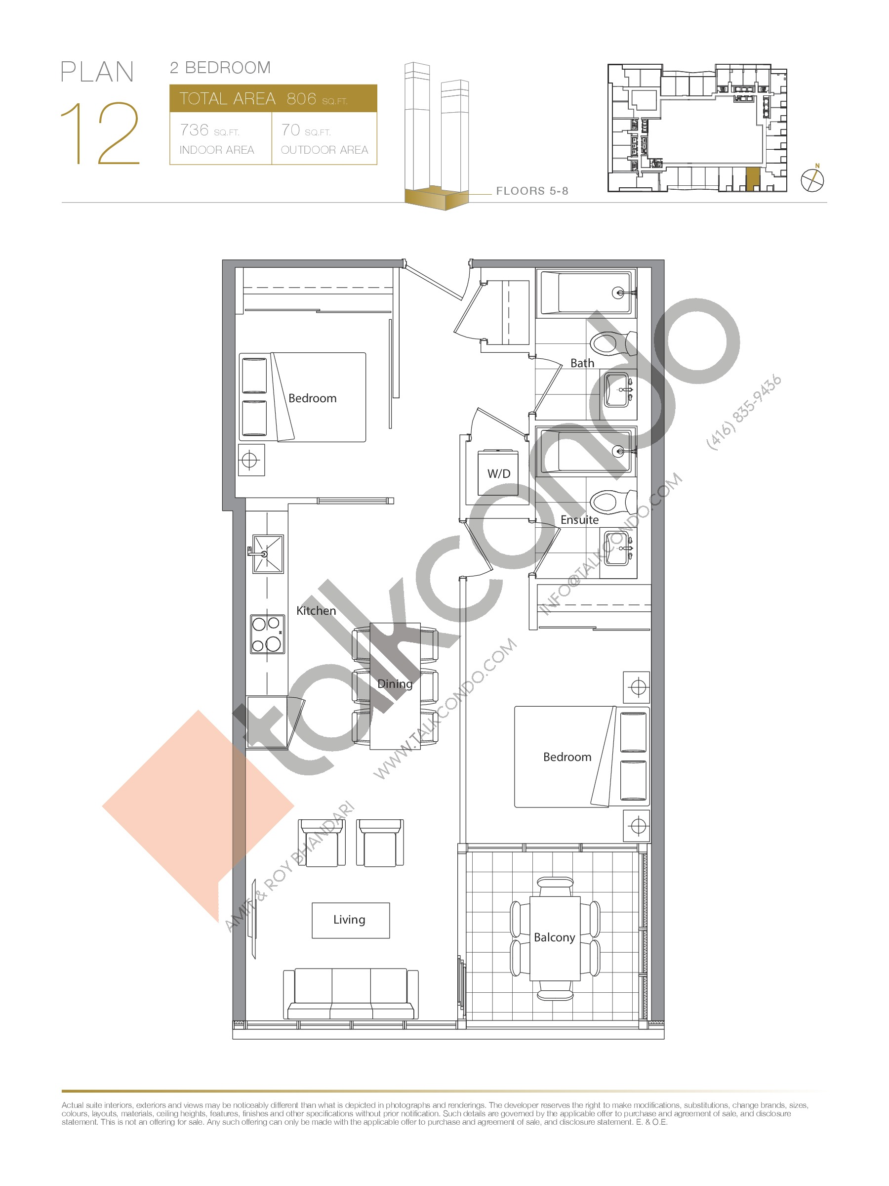 Plan 12 - Podium Floor Plan at Concord Canada House Condos - 736 sq.ft