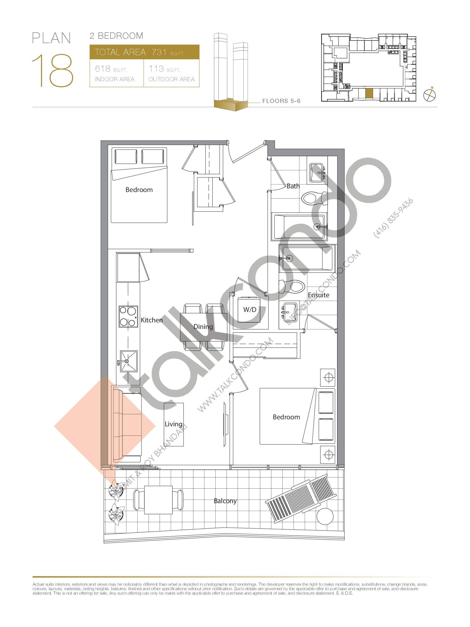 Plan 18 - Podium Floor Plan at Concord Canada House Condos - 618 sq.ft