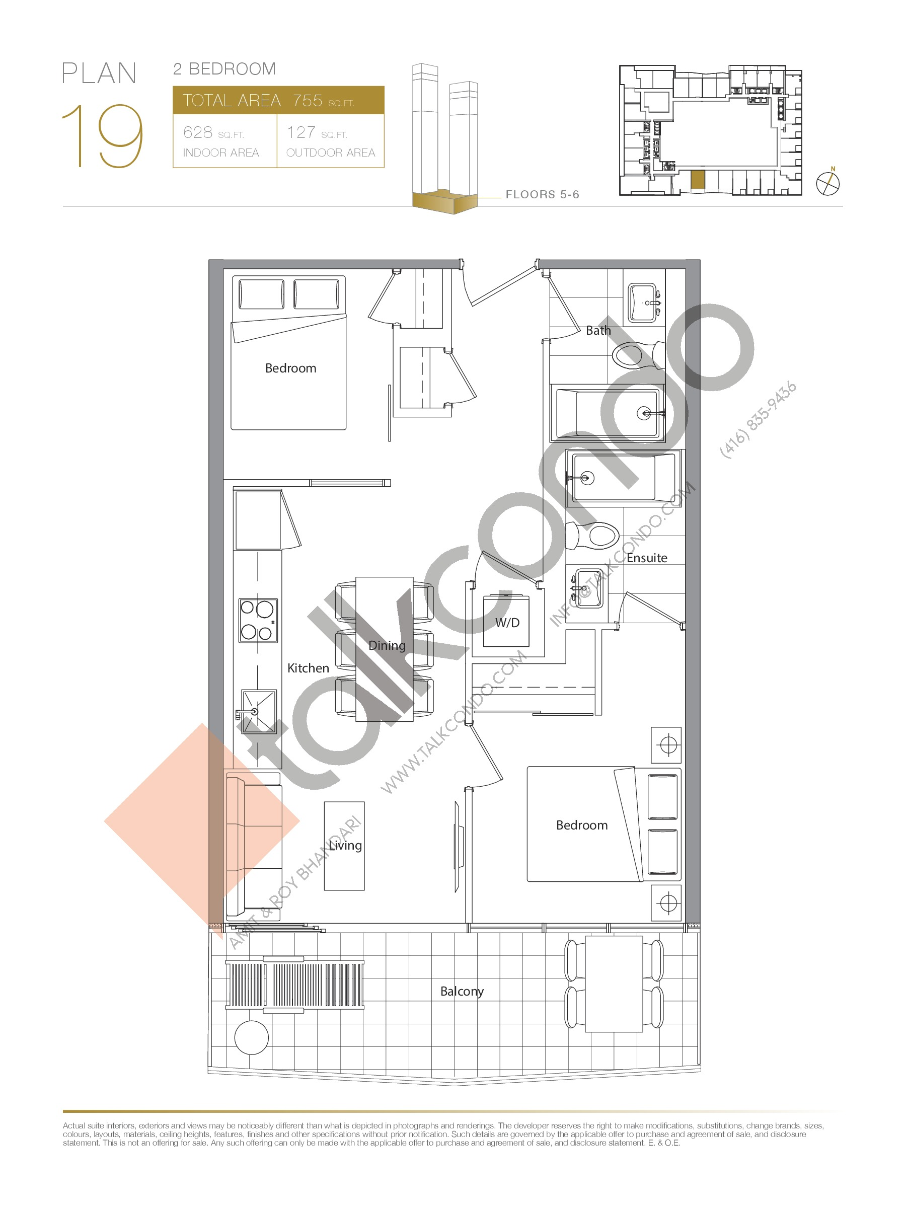 Plan 19 - Podium Floor Plan at Concord Canada House Condos - 628 sq.ft