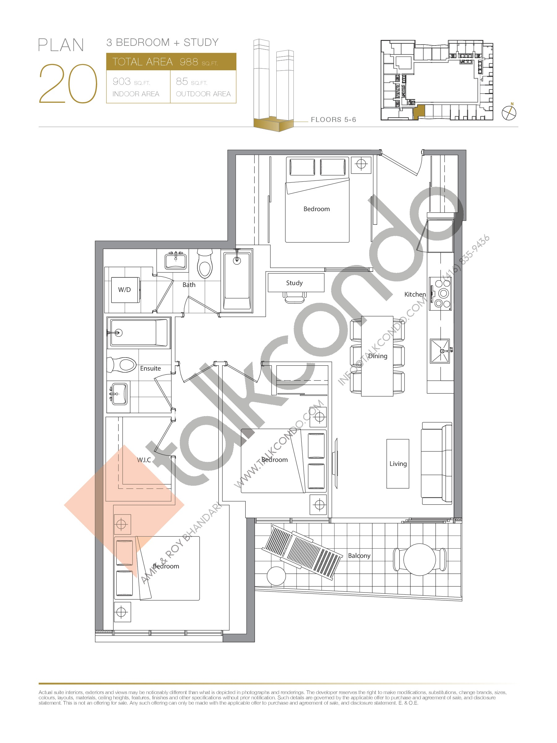 Plan 20 - Podium Floor Plan at Concord Canada House Condos - 903 sq.ft