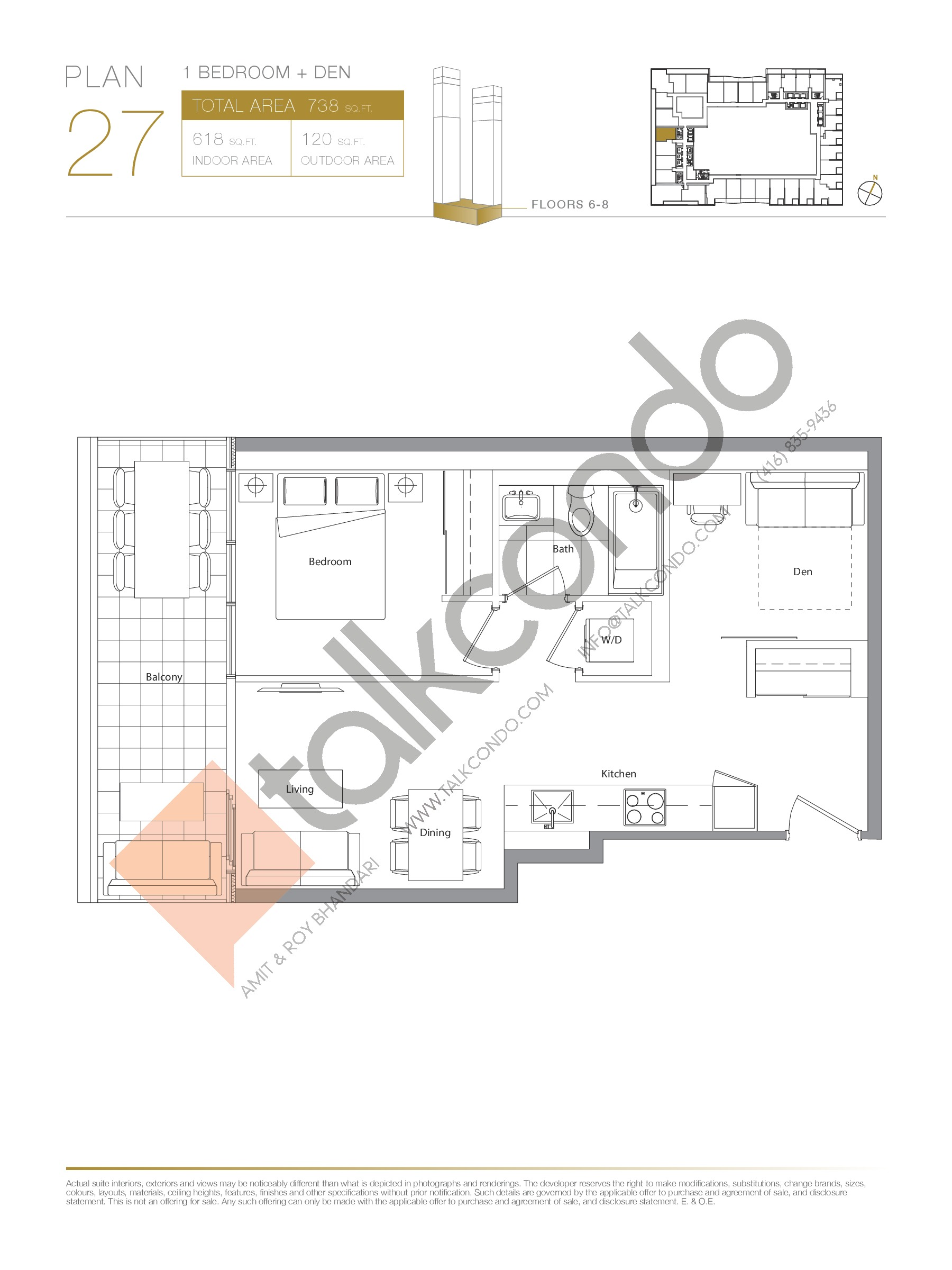 Plan 27 Floor Plan at Concord Canada House Condos - 618 sq.ft