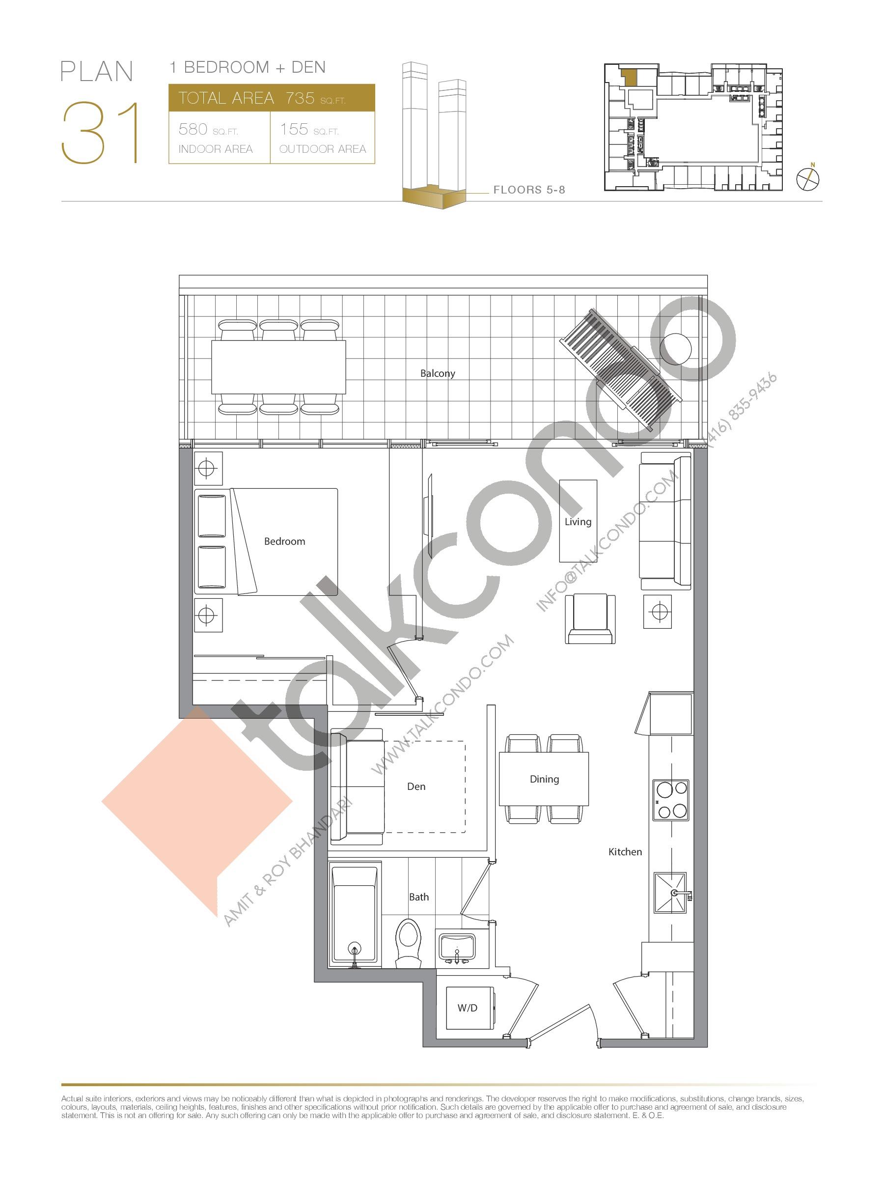 Plan 31 Floor Plan at Concord Canada House Condos - 580 sq.ft