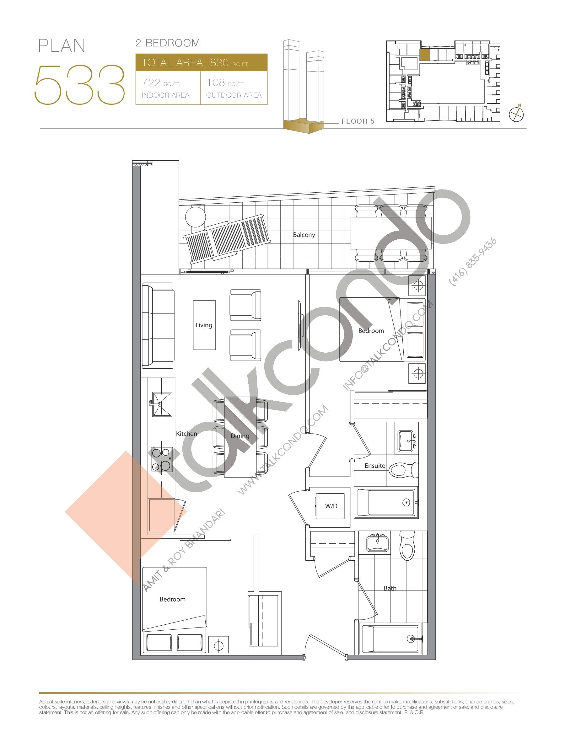Plan 533 Floor Plan at Concord Canada House Condos - 722 sq.ft