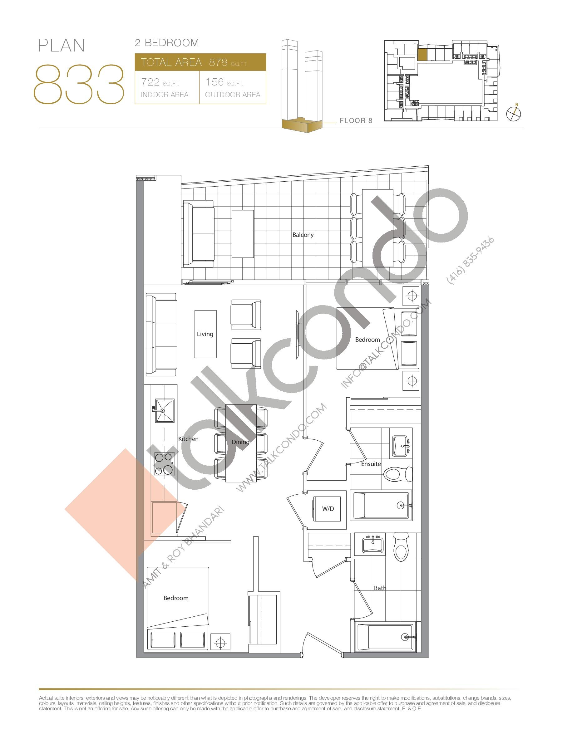 Plan 833 Floor Plan at Concord Canada House Condos - 722 sq.ft