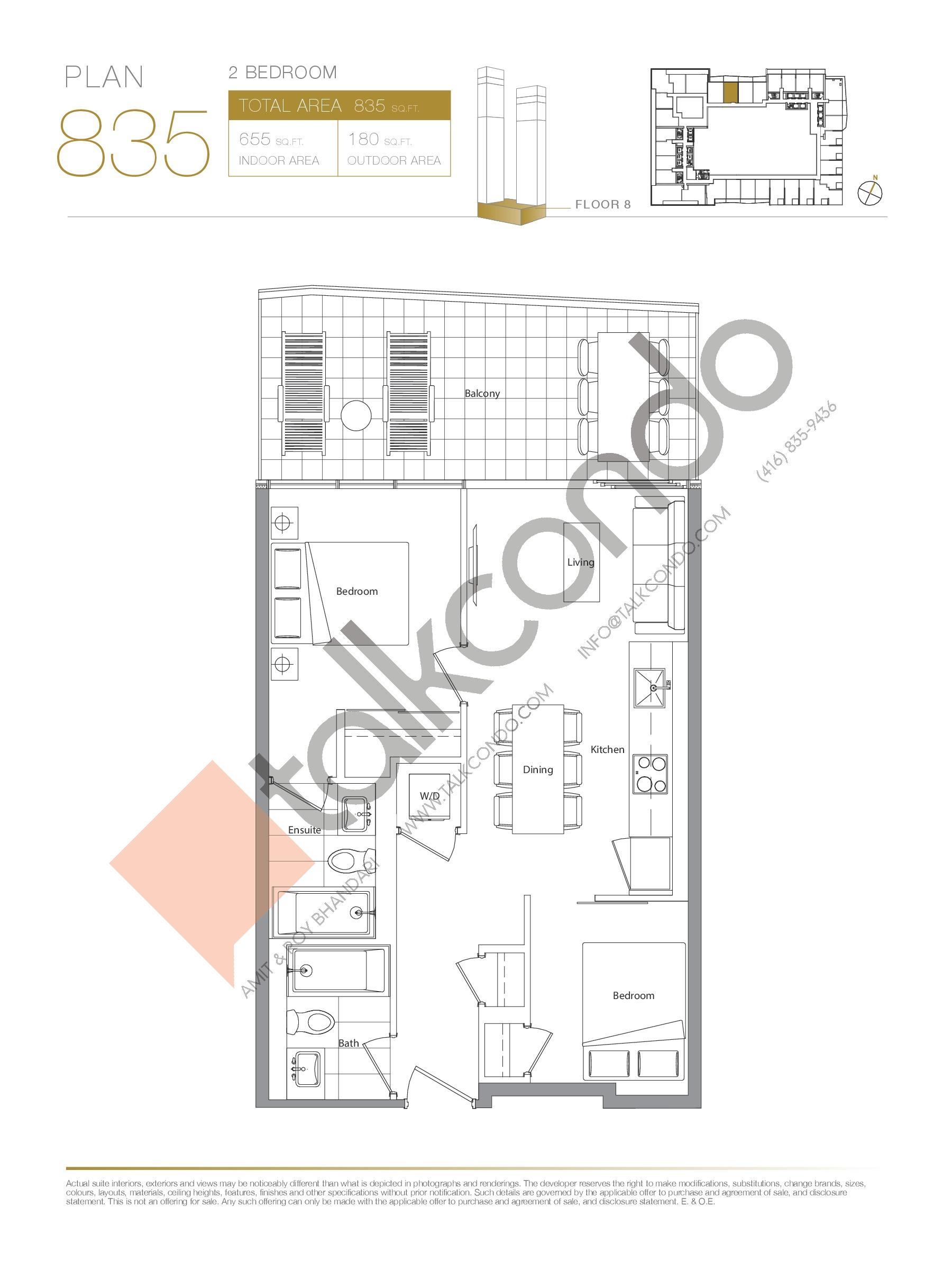 Plan 835 Floor Plan at Concord Canada House Condos - 655 sq.ft