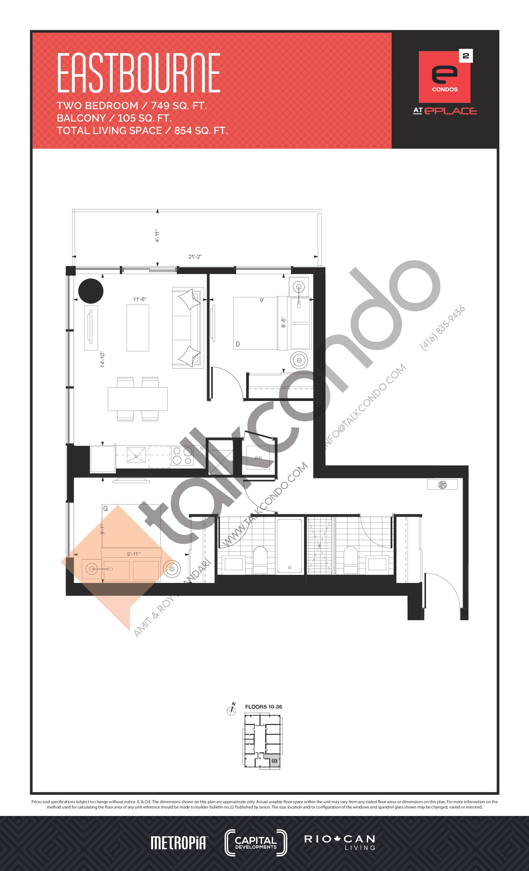 Eastbourne Floor Plan at E2 Condos - 749 sq.ft
