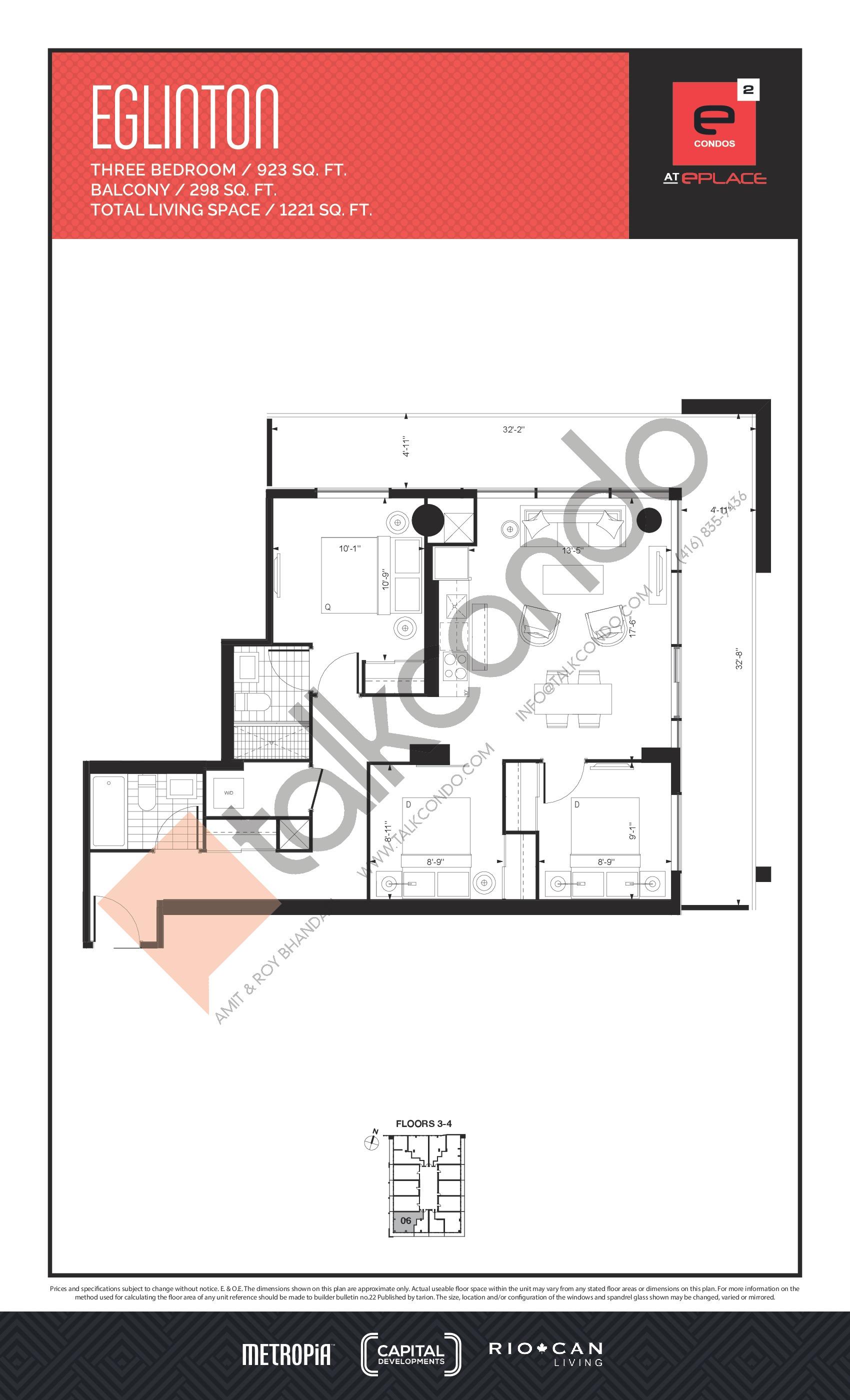 Eglinton Floor Plan at E2 Condos - 923 sq.ft