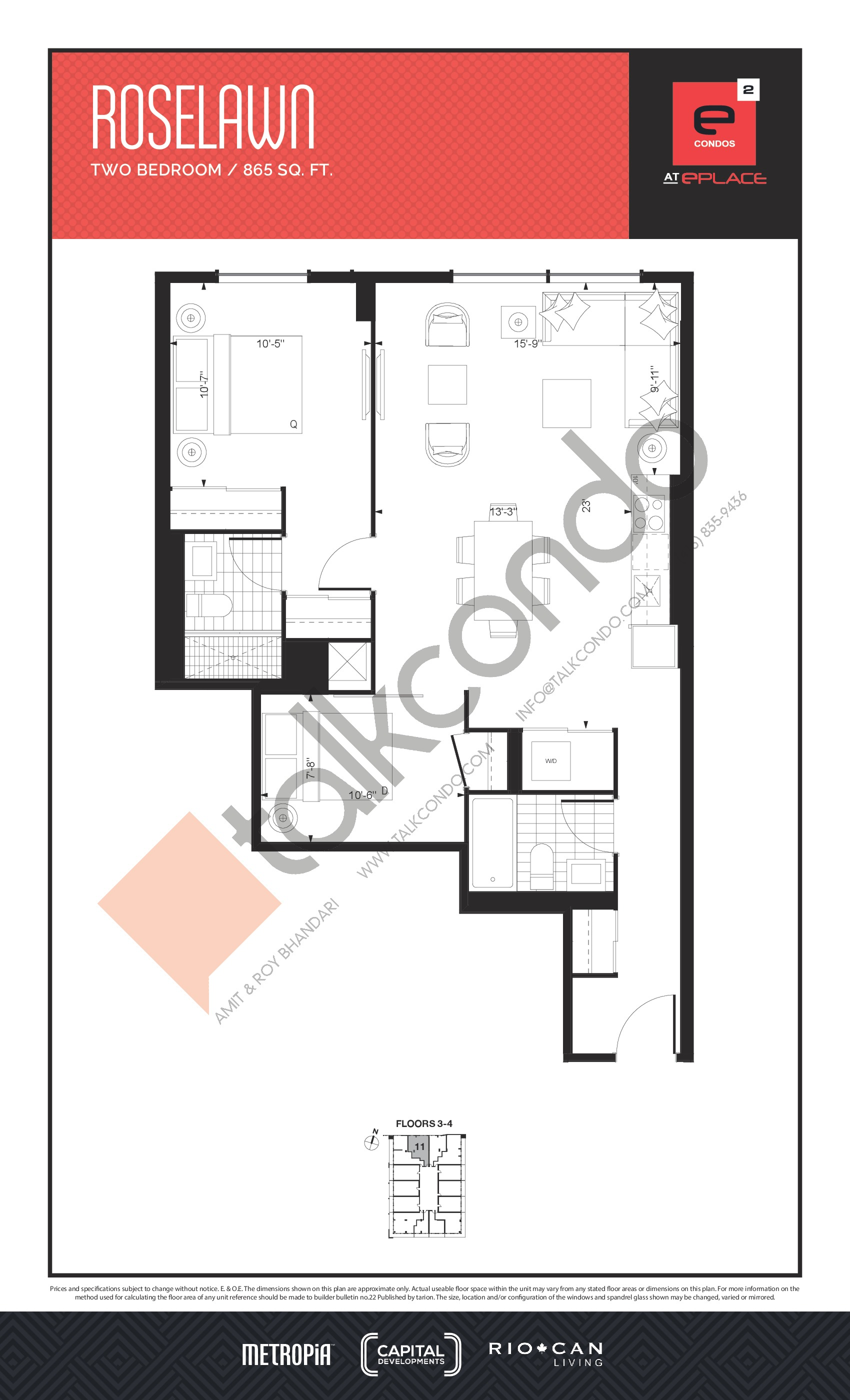 Roselawn Floor Plan at E2 Condos - 865 sq.ft