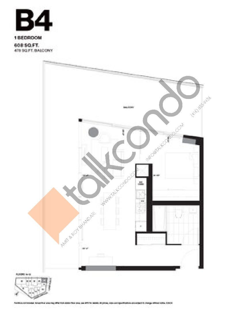 B4 Floor Plan at Harris Square Condos - 608 sq.ft