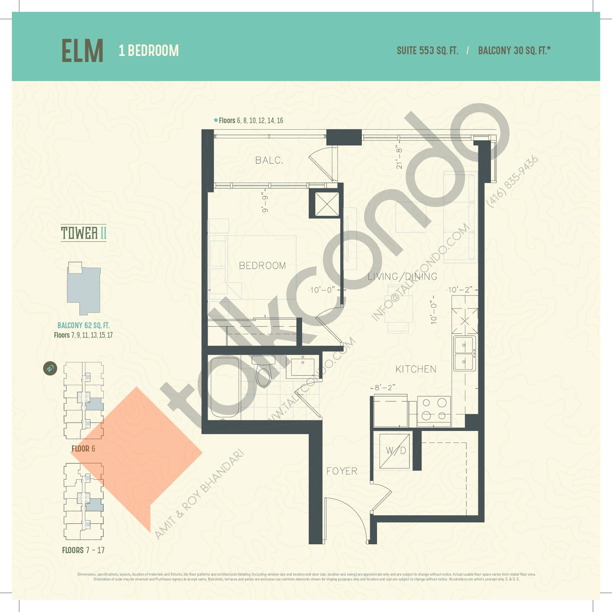 Elm Floor Plan at Oak & Co. 2 Condos - 553 sq.ft