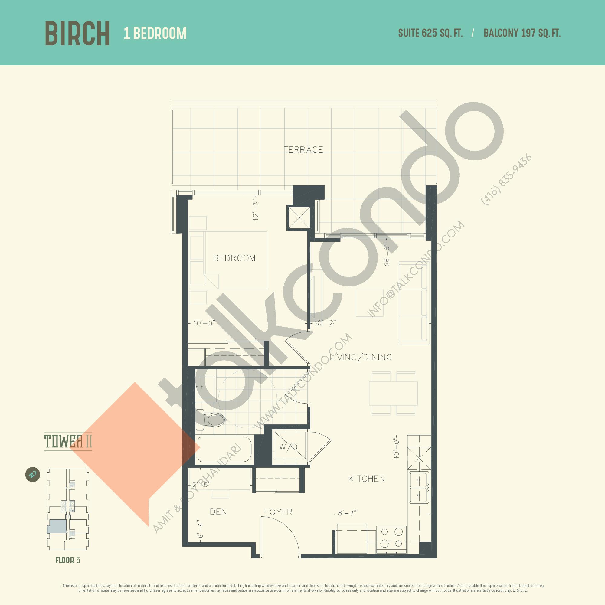 Birch (Tower) Floor Plan at Oak & Co. 2 Condos - 625 sq.ft