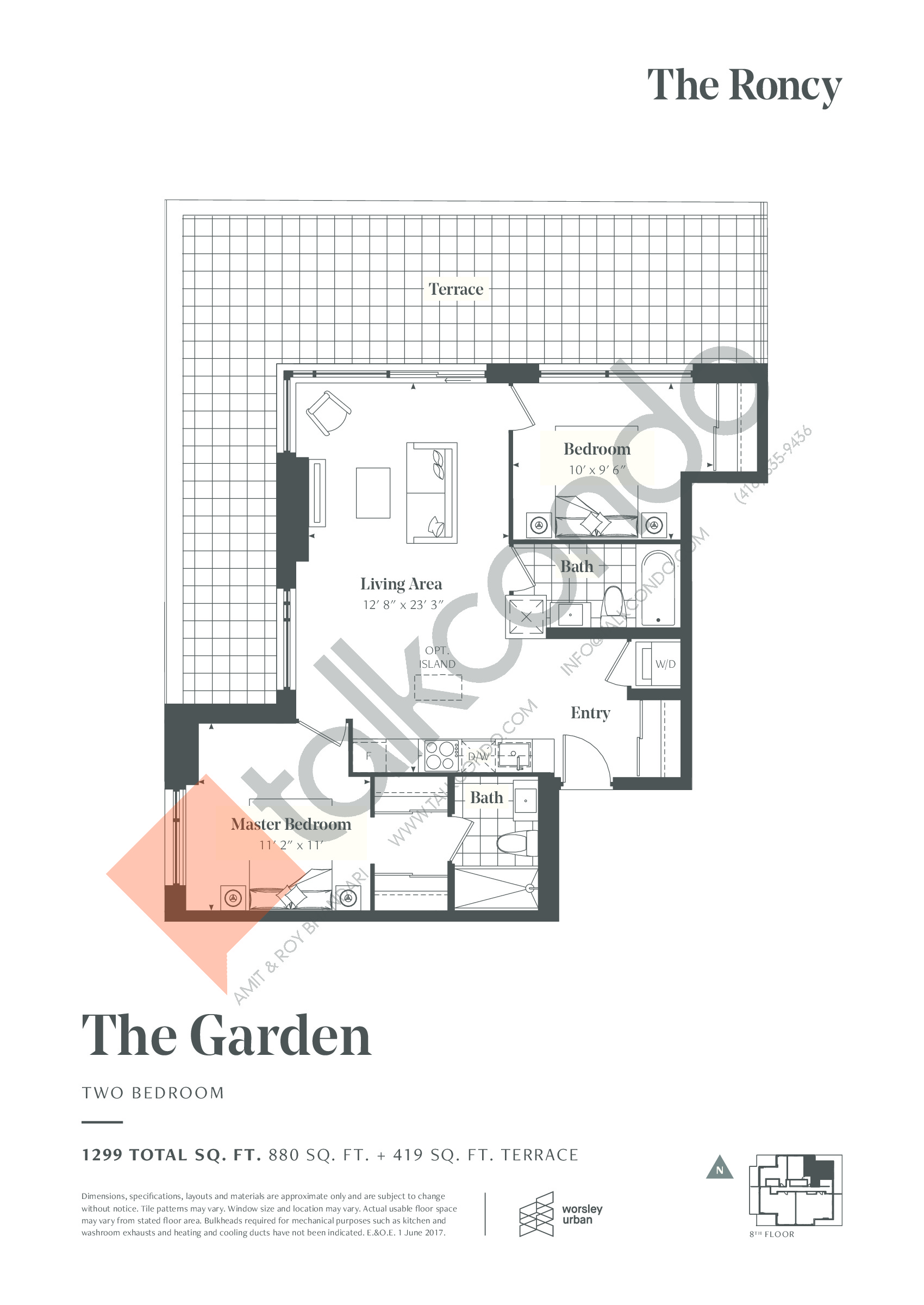 The Garden Floor Plan at The Roncy Condos - 880 sq.ft
