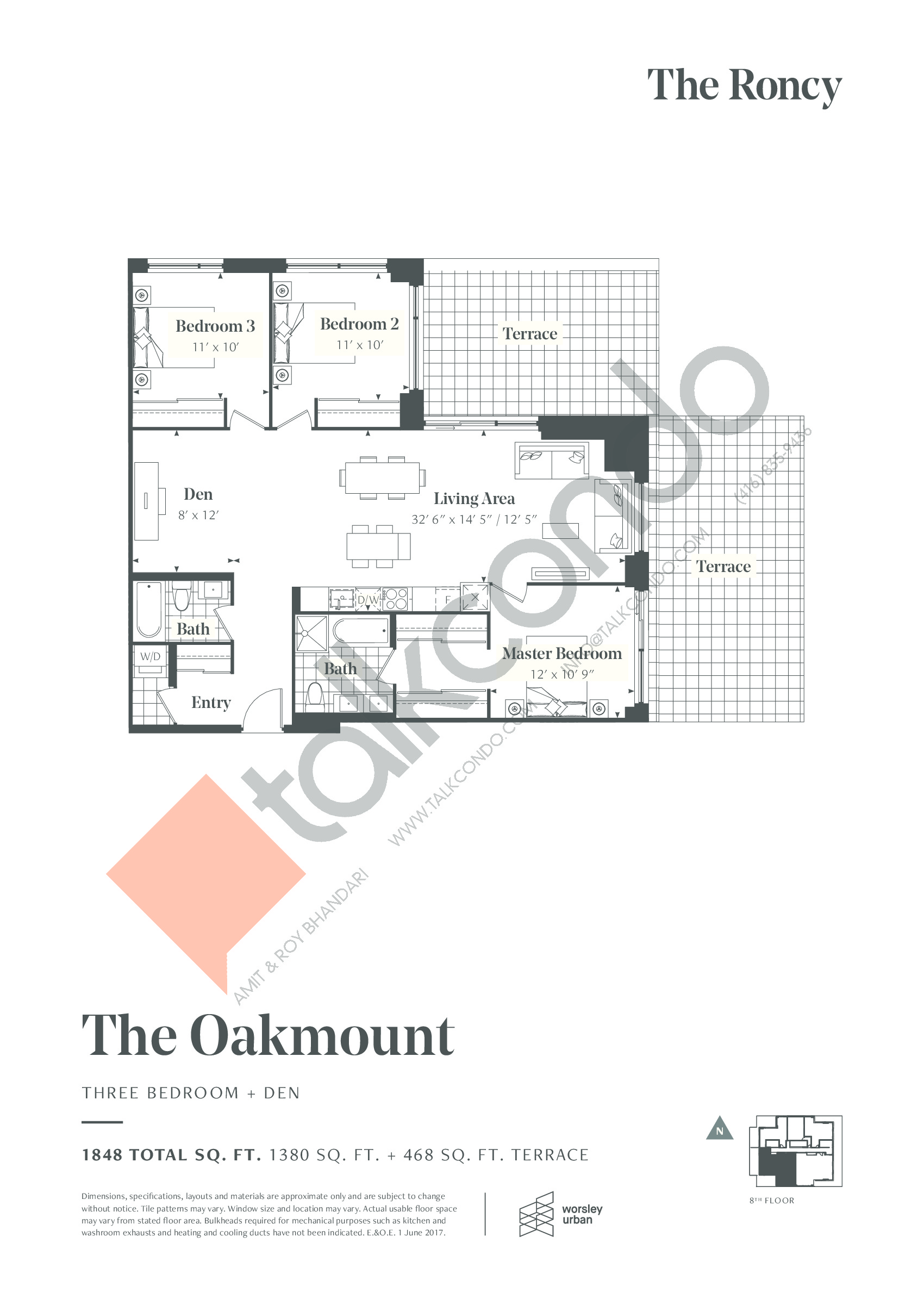 The Oakmount Floor Plan at The Roncy Condos - 1380 sq.ft