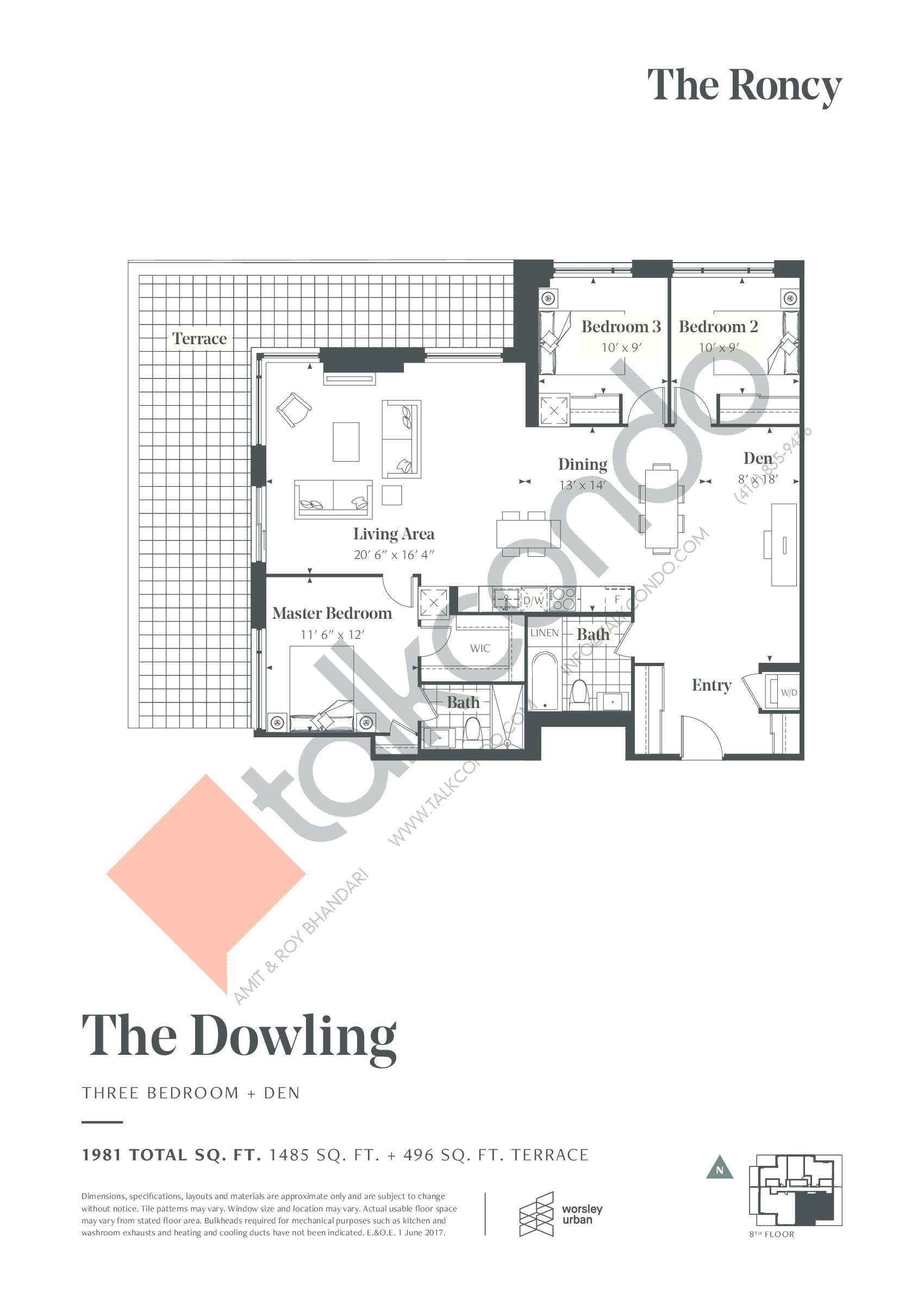 The Dowling Floor Plan at The Roncy Condos - 1485 sq.ft